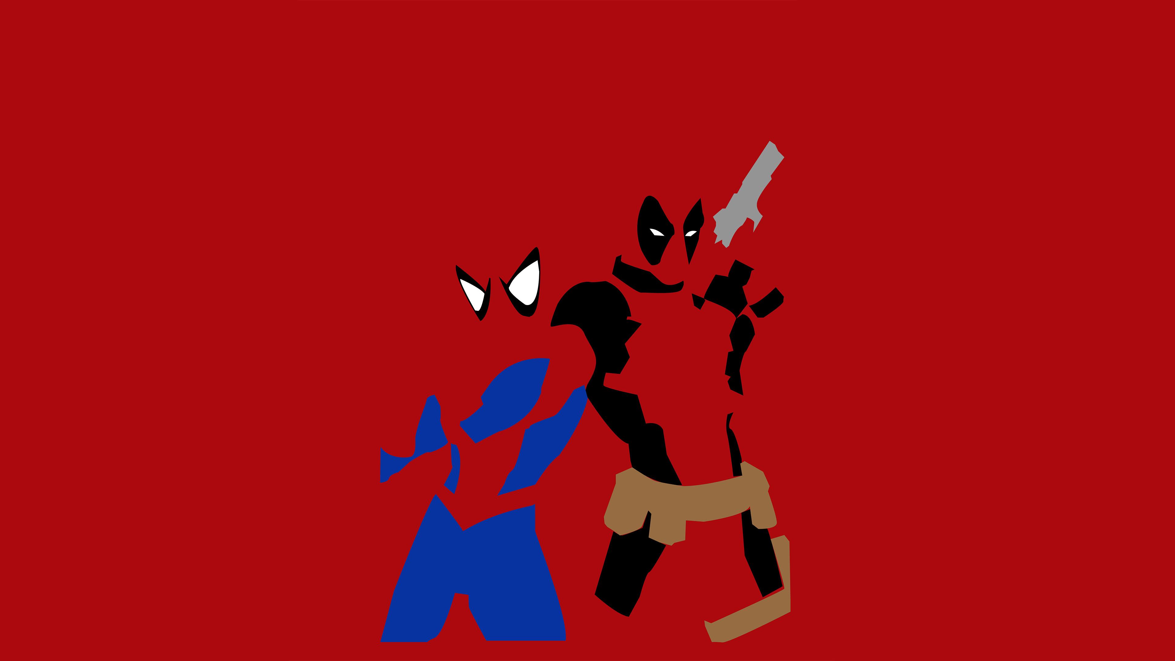 Wallpaper 4k Spiderman And Deadpool Minimalism 4k Wallpapers