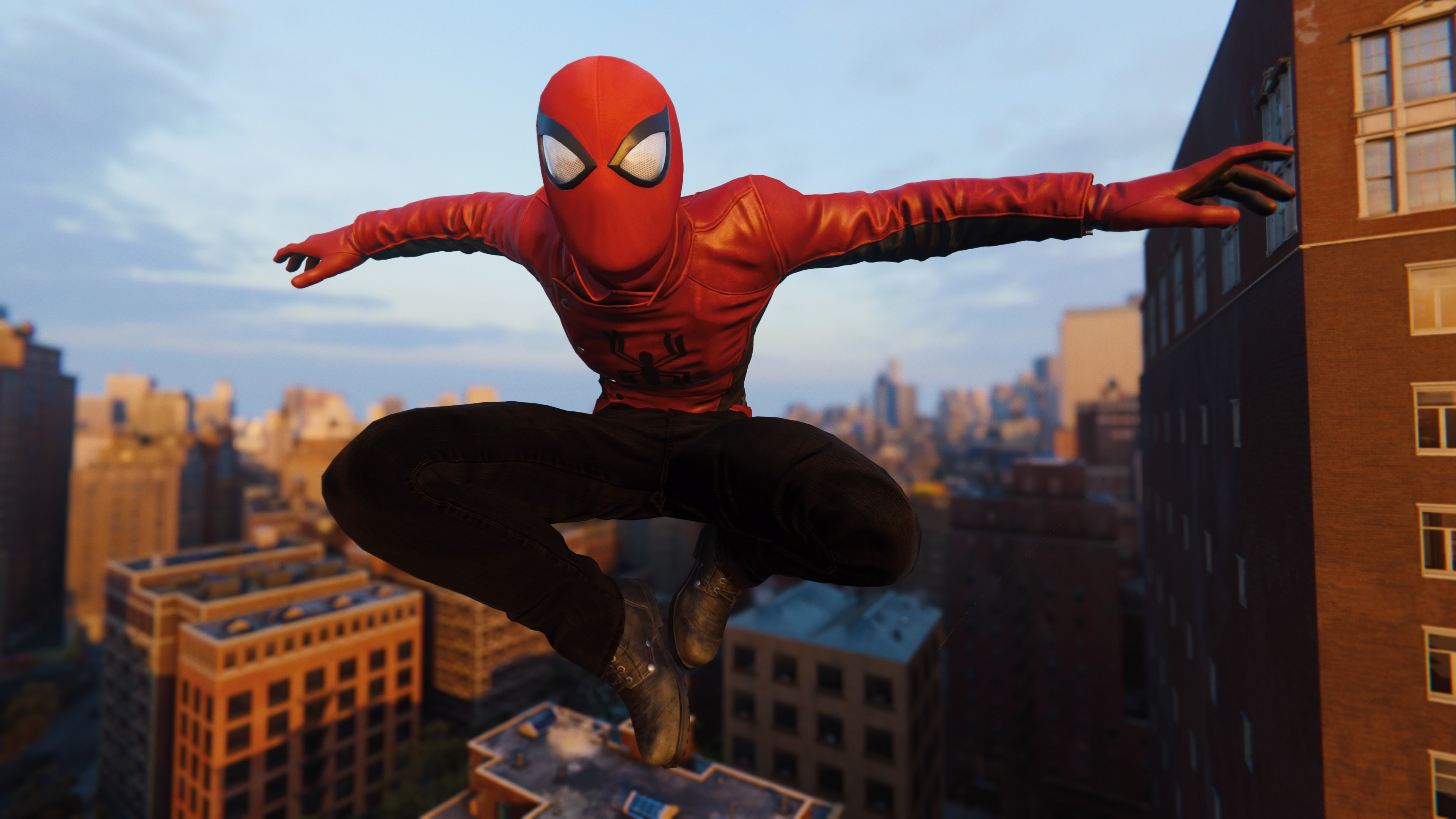 spiderman jumping wearing red spider jacket 1537692845 - Spiderman Jumping Wearing Red Spider Jacket - superheroes wallpapers, spiderman wallpapers, spiderman ps4 wallpapers, ps games wallpapers, hd-wallpapers, games wallpapers, 4k-wallpapers, 2018 games wallpapers