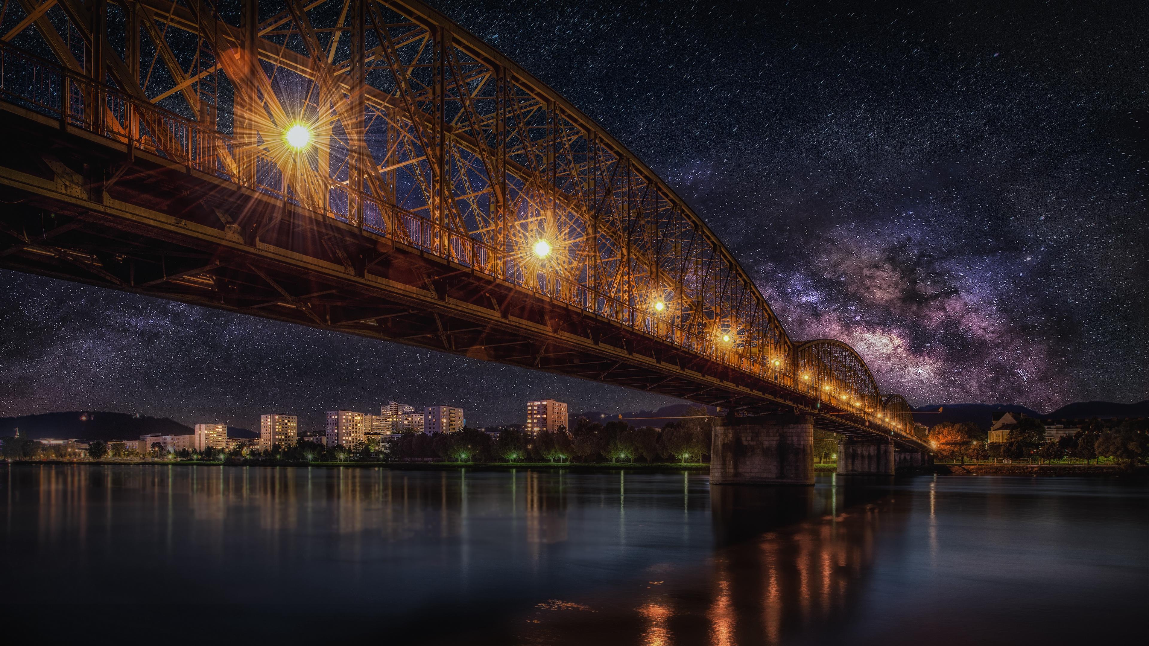 starry sky bridge railway night hdr 4k 1538066633 - starry sky, bridge, railway, night, hdr 4k - starry sky, railway, bridge