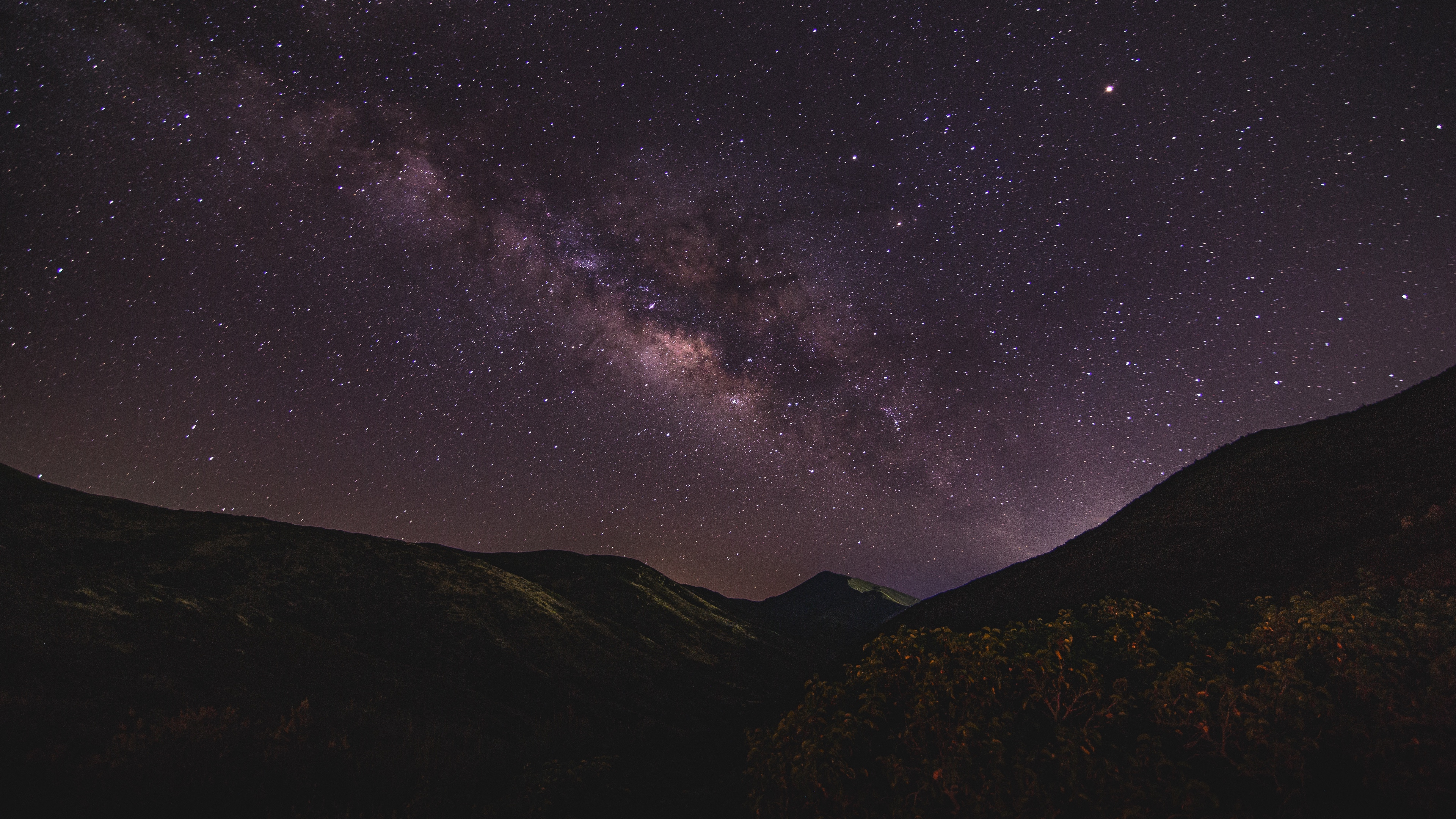 starry sky mountains night milky way 4k 1536016163 - starry sky, mountains, night, milky way 4k - starry sky, Night, Mountains