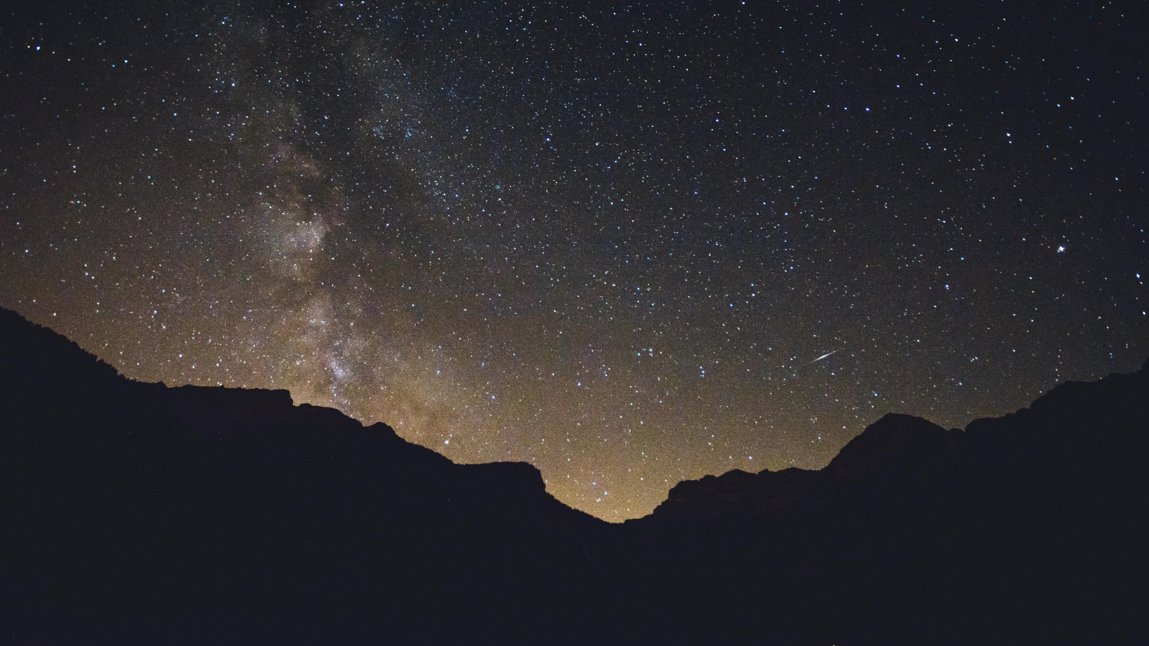 starry sky mountains radiance 4k 1536016165 - starry sky, mountains, radiance 4k - starry sky, radiance, Mountains