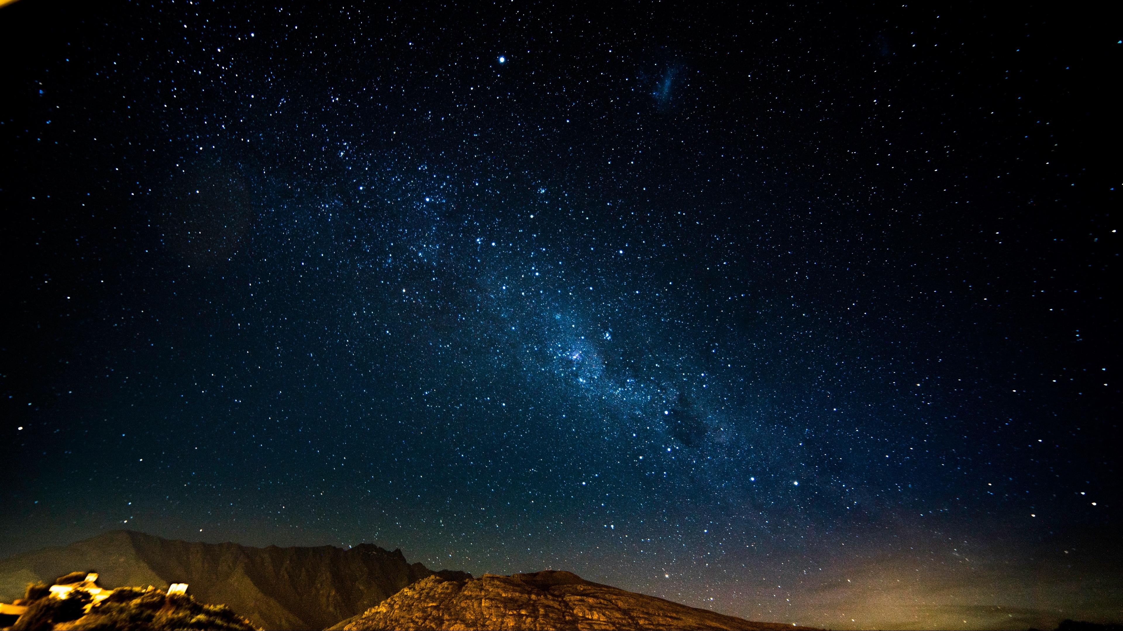 starry sky night mountains radiance glitter 4k 1536017175 - starry sky, night, mountains, radiance, glitter 4k - starry sky, Night, Mountains