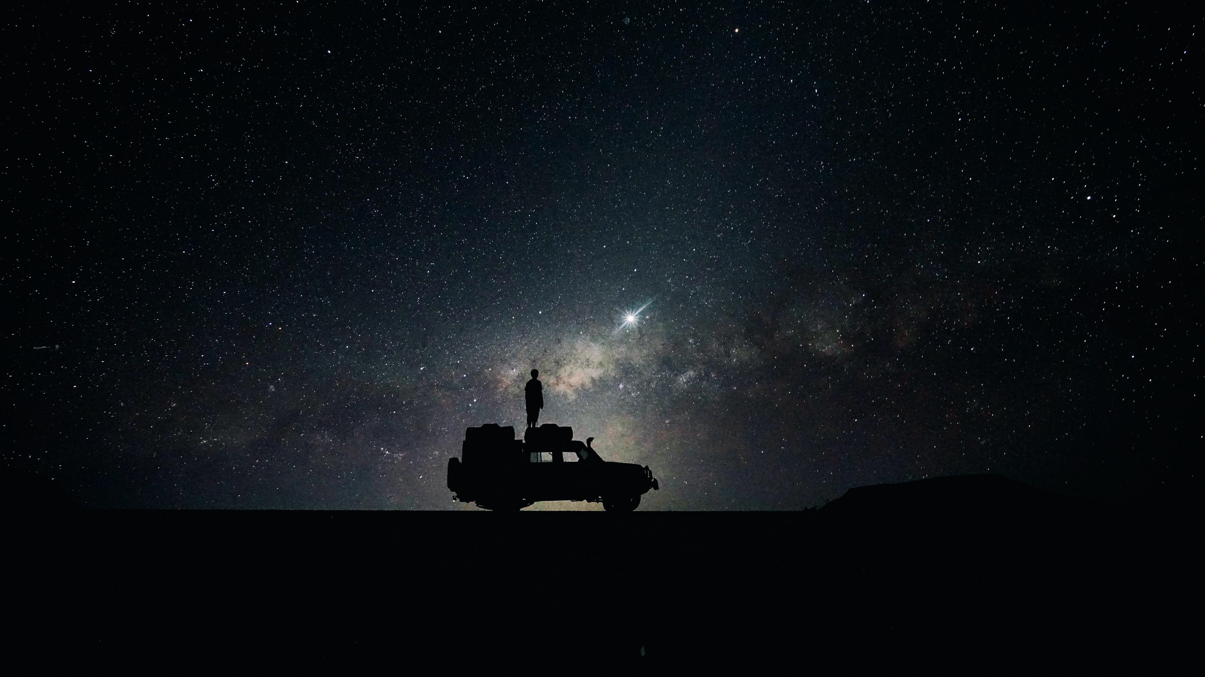 stars sky space car 4k 1536017156 - stars, sky, space, car 4k - Stars, Space, Sky