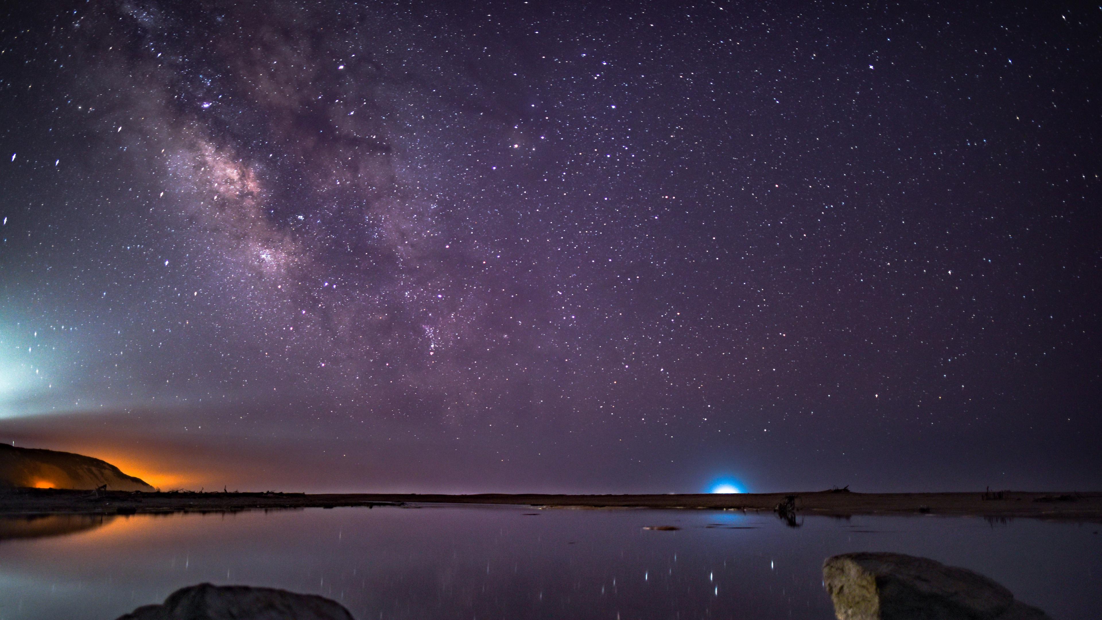 stars starry sky night purple 4k 1536017124 - stars, starry sky, night, purple 4k - Stars, starry sky, Night