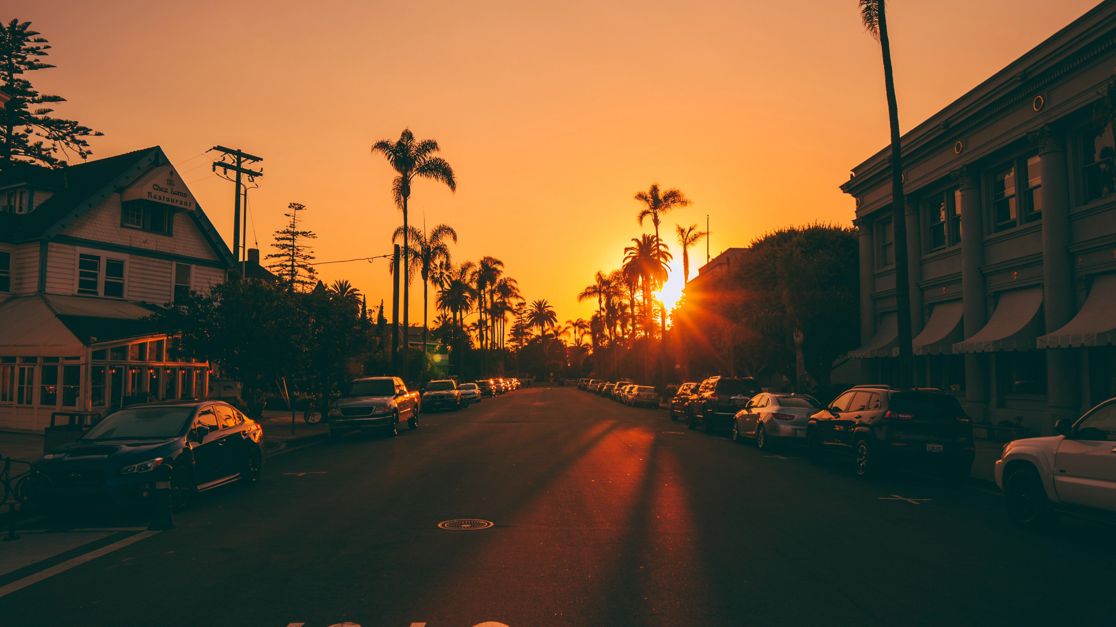 street sunset palm trees road road signs cars 4k 1538068692 - street, sunset, palm trees, road, road signs, cars 4k - sunset, Street, palm trees