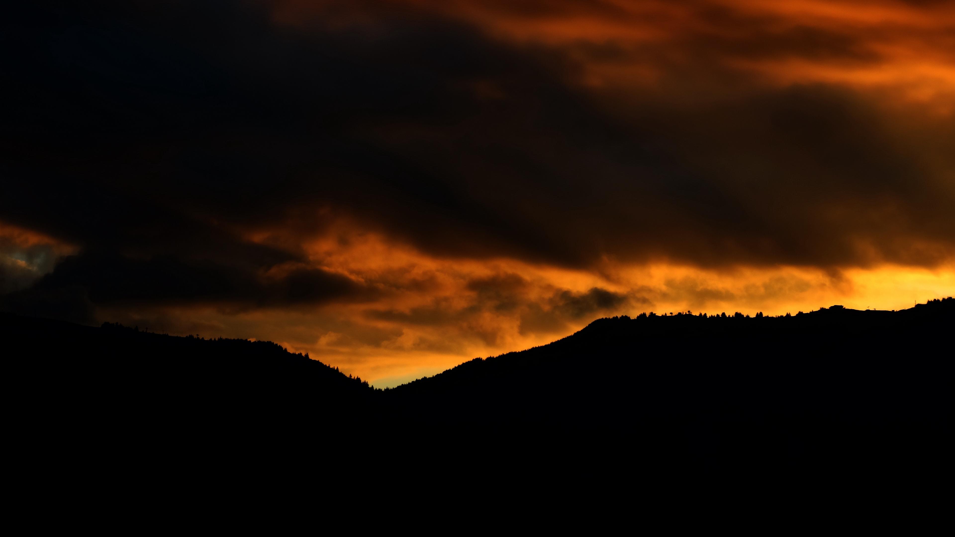 sunset mountains clouds cloudy 4k 1536017763 - sunset, mountains, clouds, cloudy 4k - sunset, Mountains, Clouds
