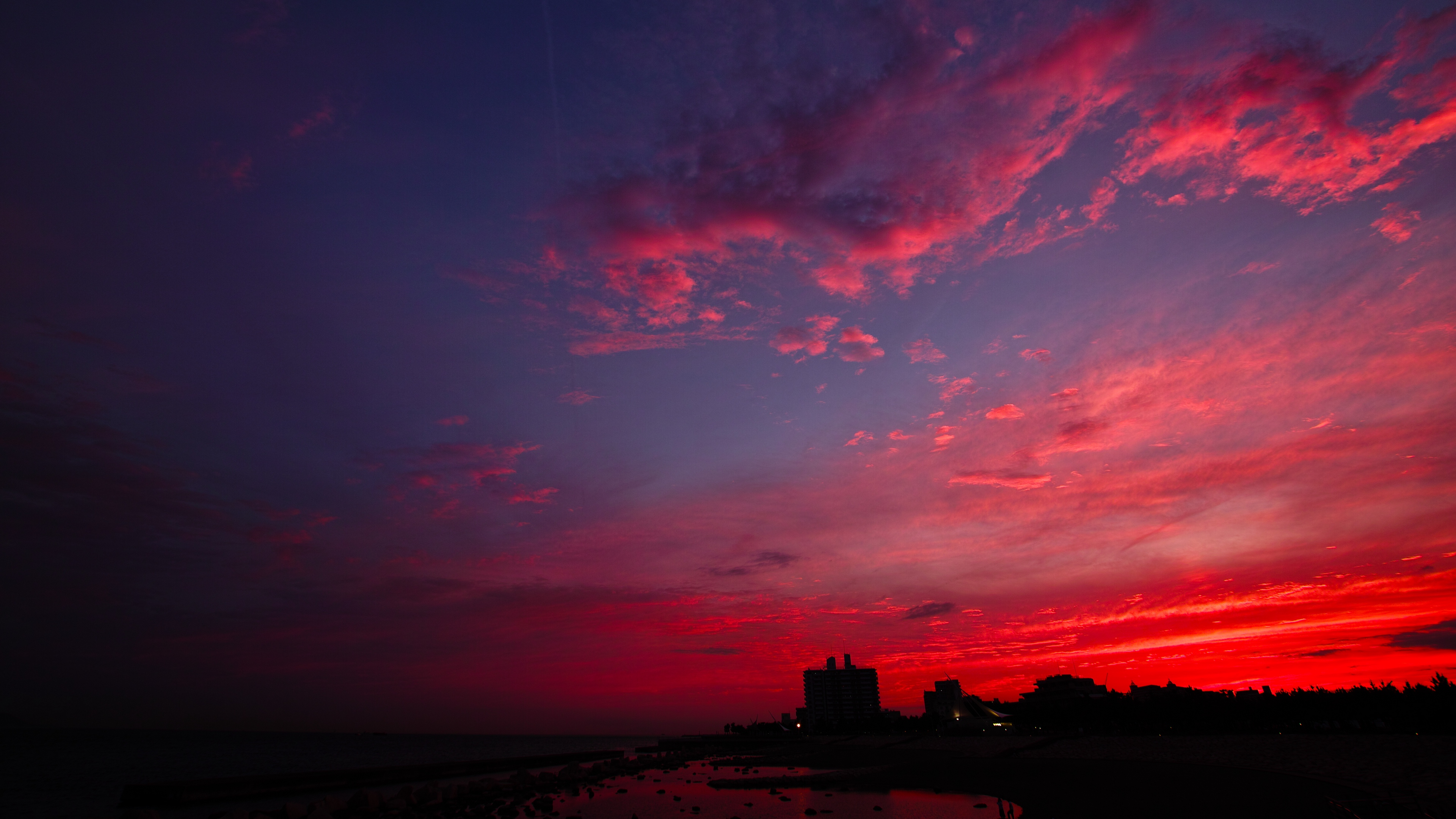sunset night city sky clouds 4k 1538066297 - sunset, night city, sky, clouds 4k - sunset, Sky, night city