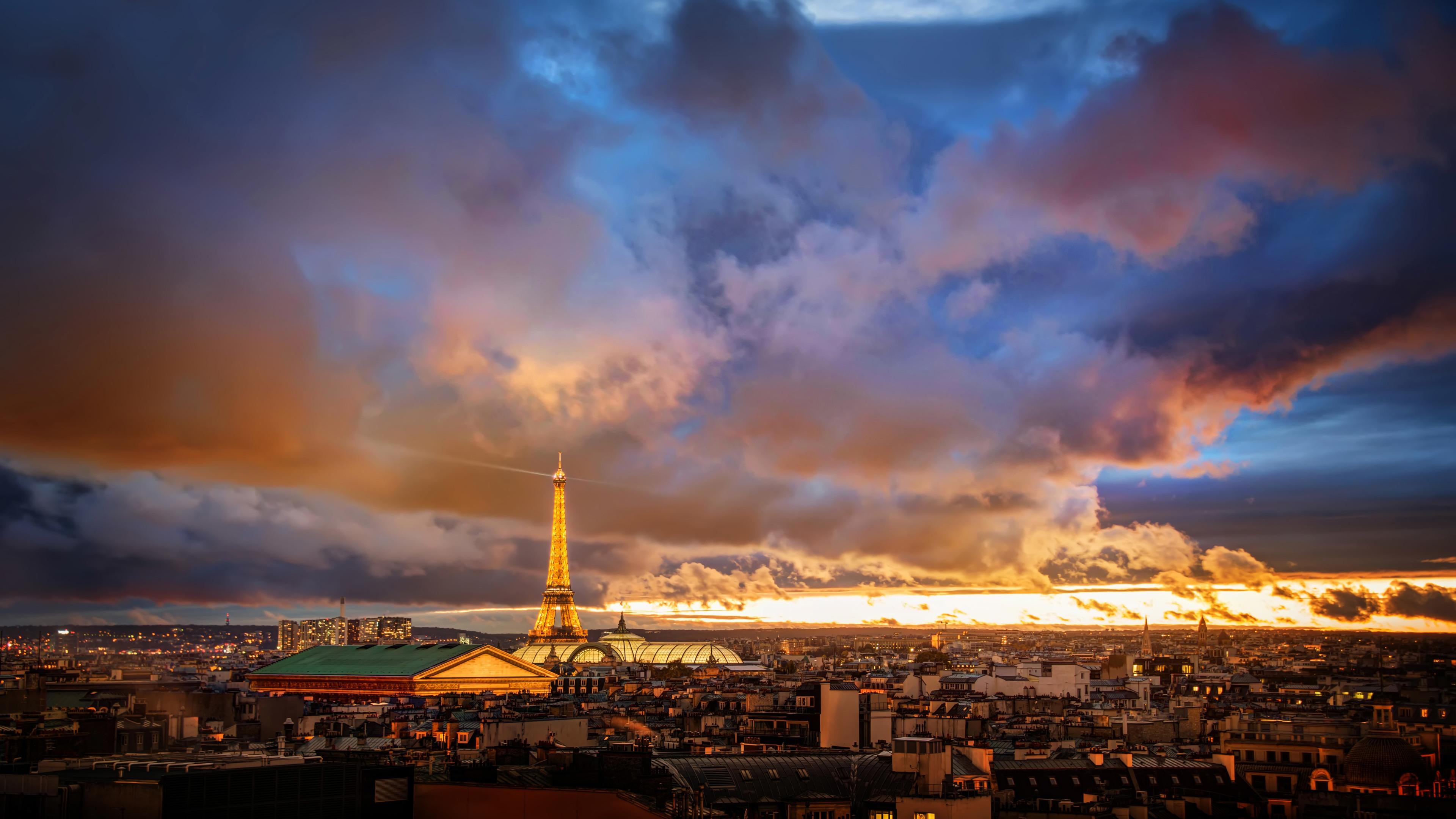 sunset over paris 1538069233 - Sunset Over Paris - world wallpapers, sunset wallpapers, photography wallpapers, paris wallpapers, hd-wallpapers, 8k wallpapers, 5k wallpapers, 4k-wallpapers