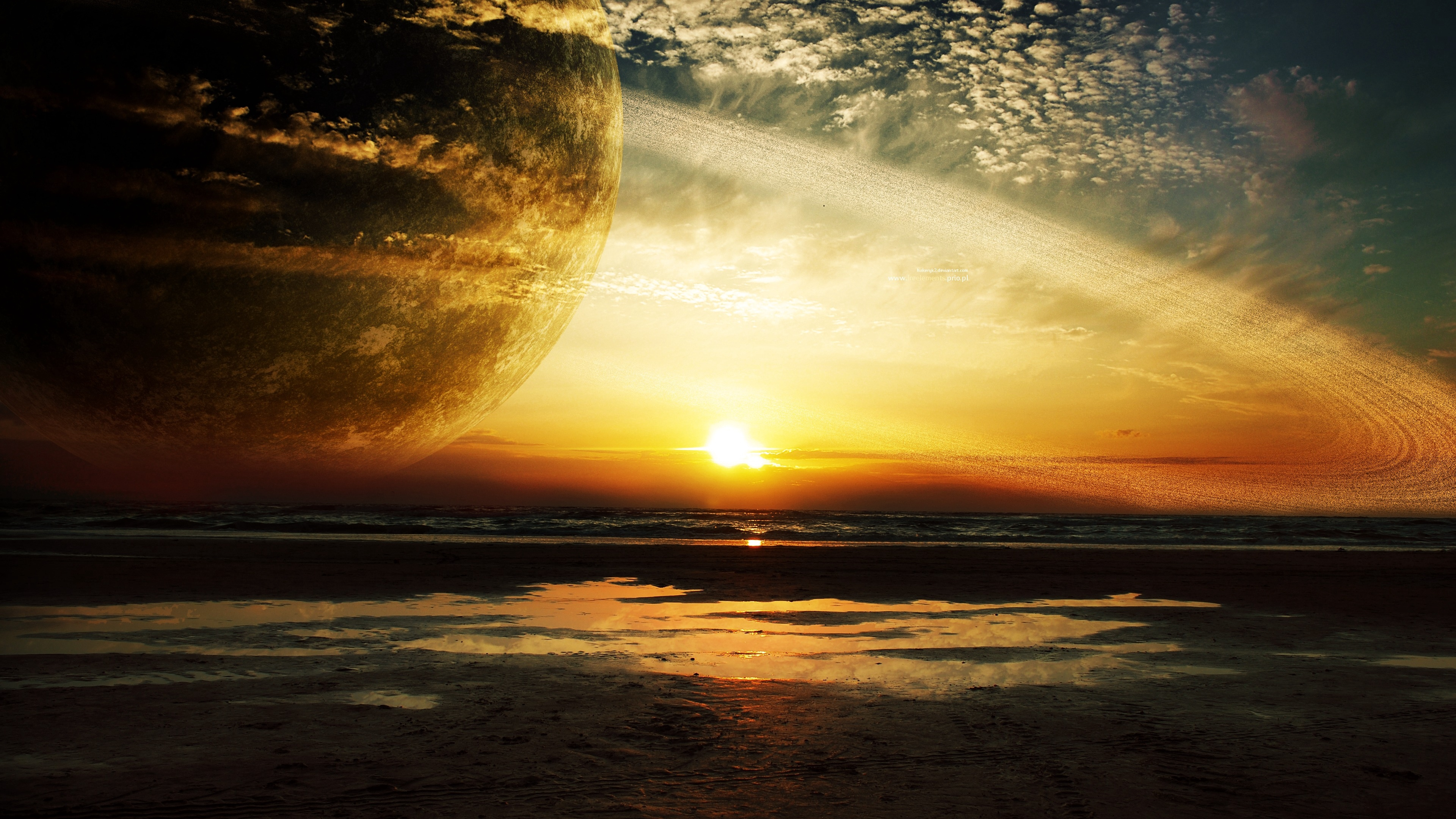 sunset sea rings planet 4k 1536017164 - sunset, sea, rings, planet 4k - sunset, Sea, Rings