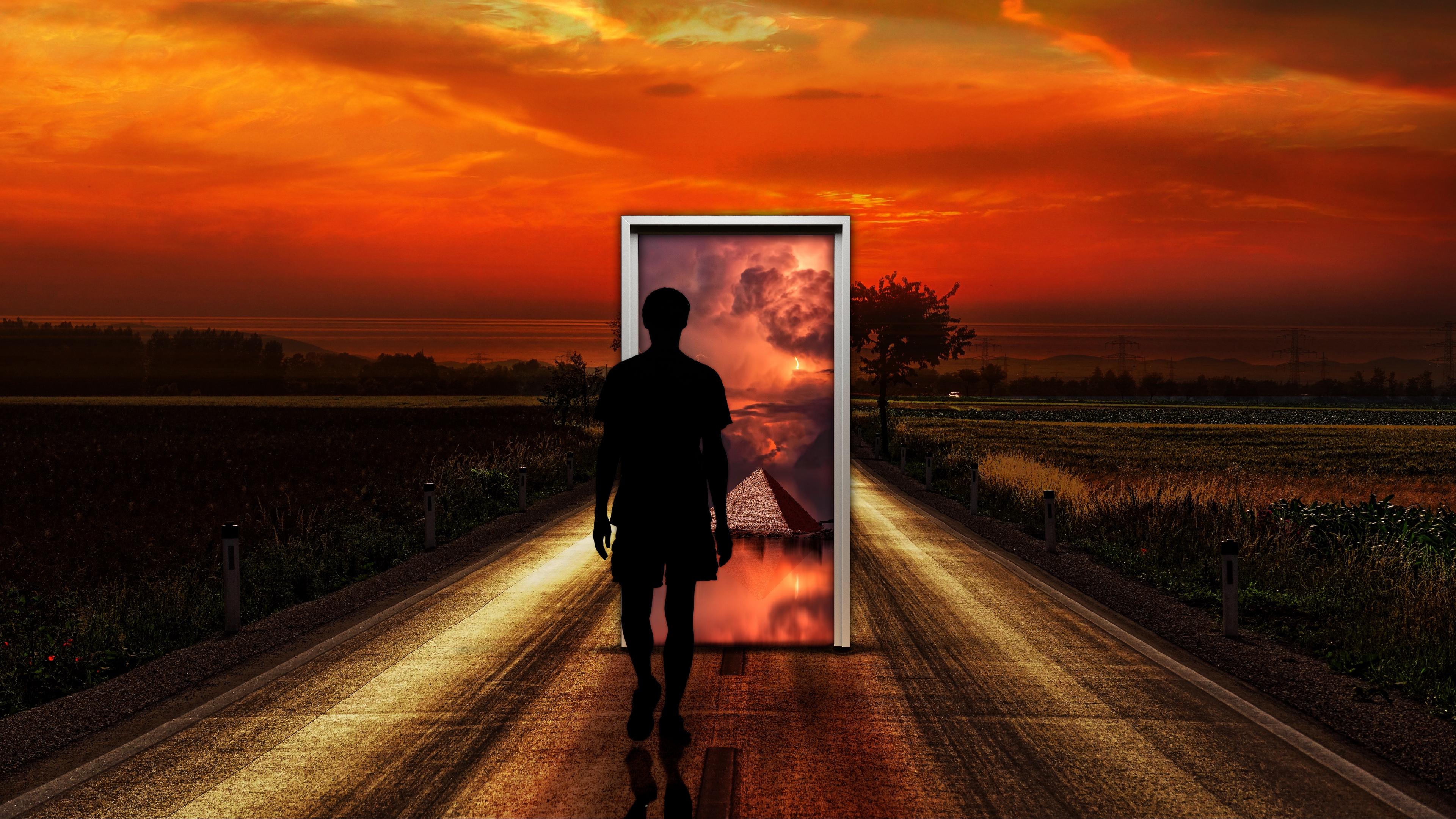 surrealism man door imagination 4k 1536098105 - surrealism, man, door, imagination 4k - surrealism, Man, Door