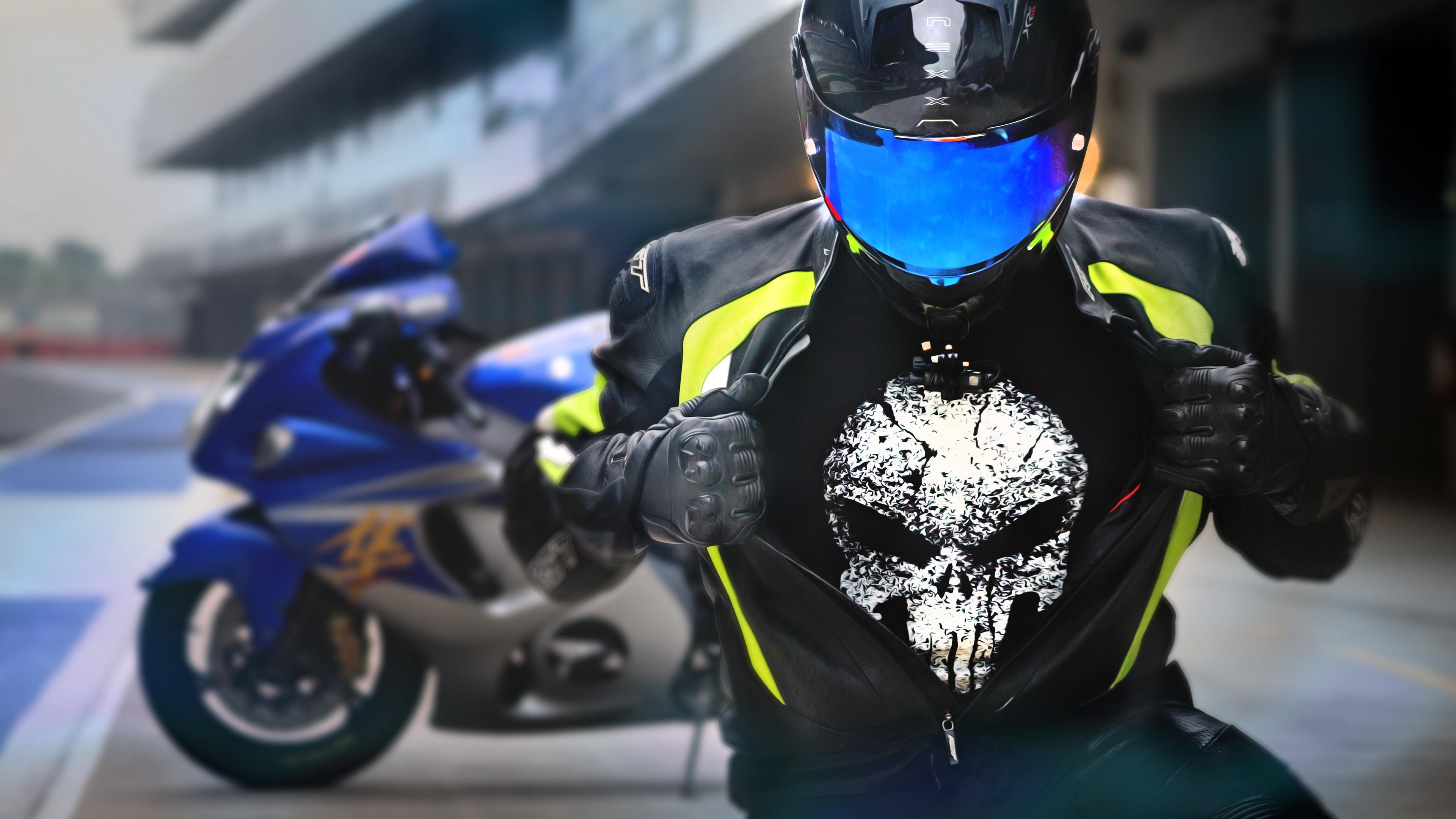Suzuki Hayabusa Rider Wearing Punisher T Shirt Suzuki