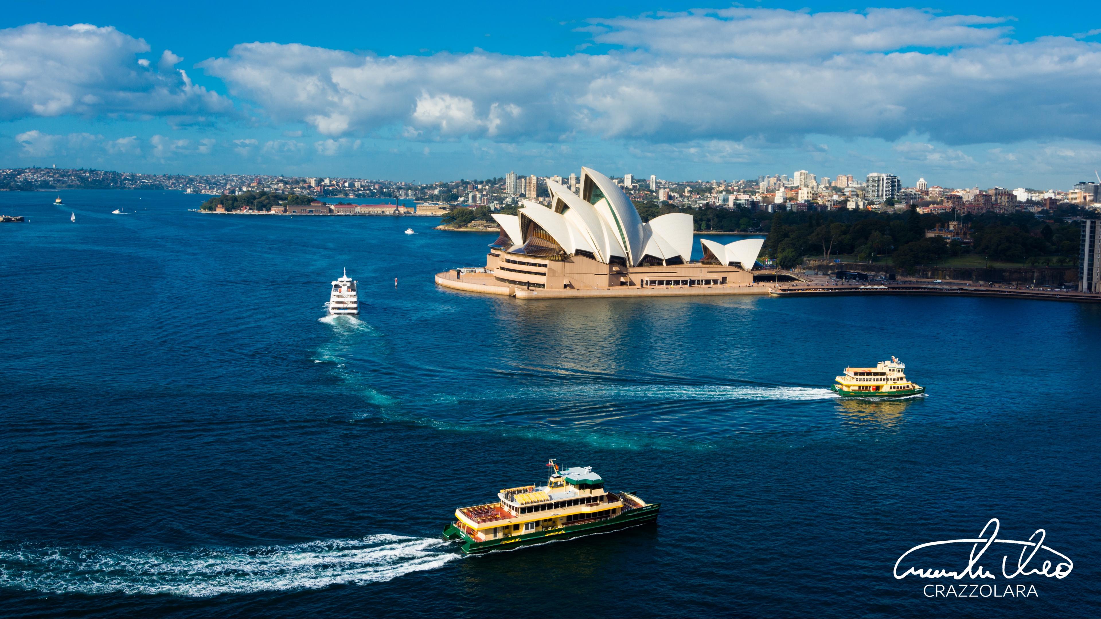 sydney opera house theater harbor ships sydney australia 4k 1538066110 - sydney opera house, theater, harbor, ships, sydney, australia 4k - theater, sydney opera house, Harbor