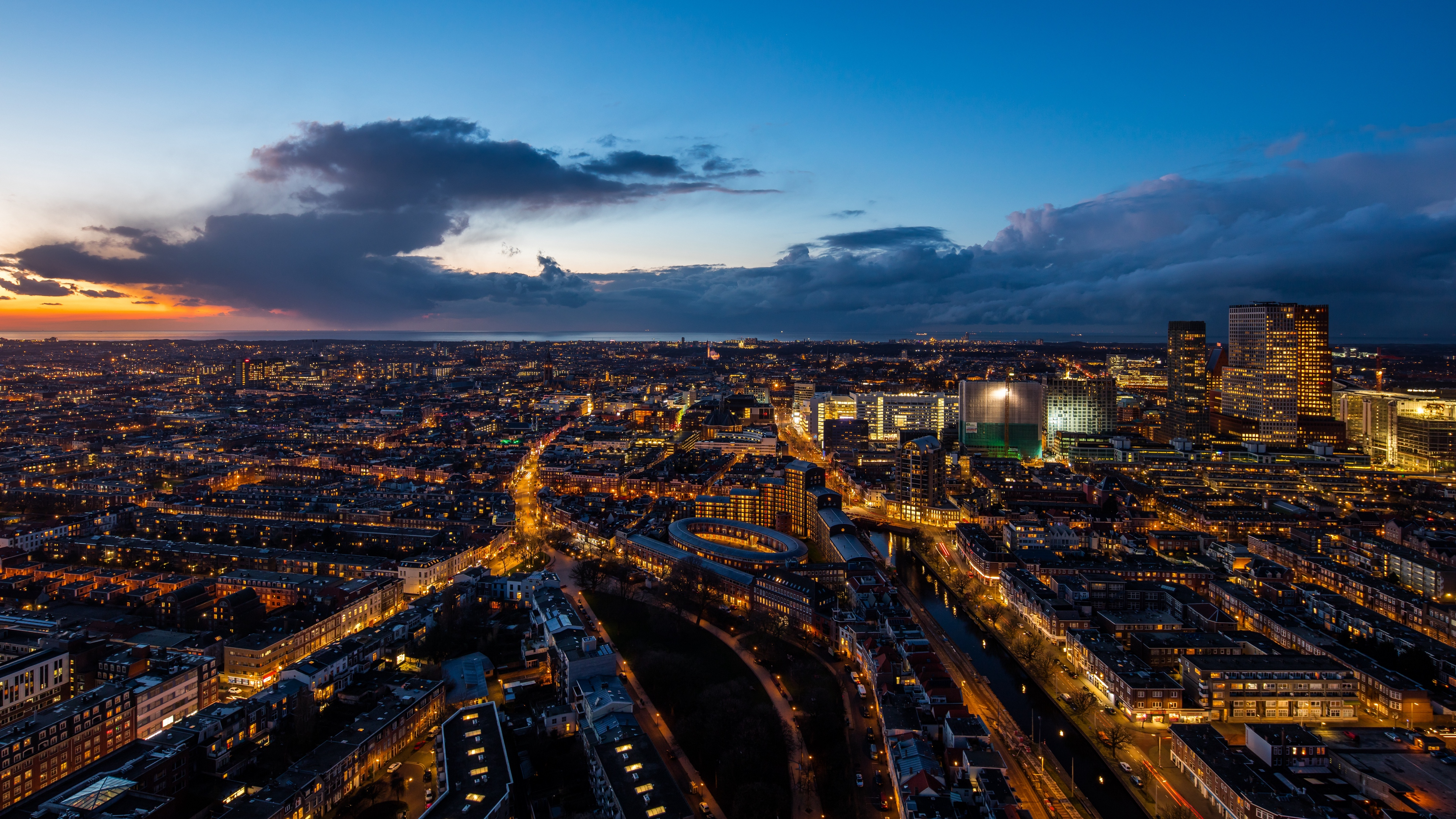 the hague netherlands night city top view 4k 1538068773 - the hague, netherlands, night city, top view 4k - the hague, night city, Netherlands