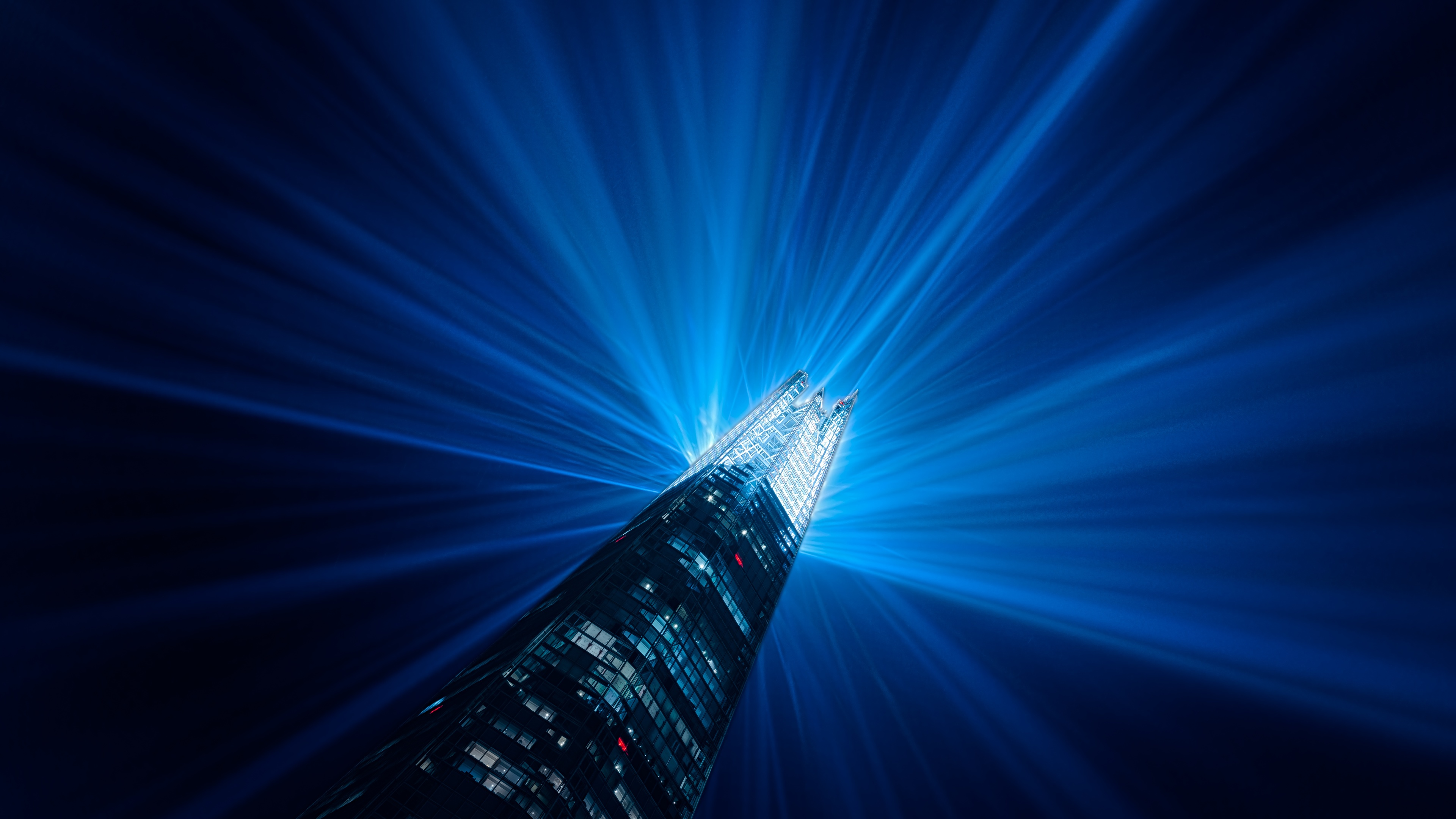 the shard skyscraper 8k 1538069236 - The Shard Skyscraper 8k - world wallpapers, skycrapper wallpapers, photography wallpapers, lights wallpapers, blue wallpapers, architecture wallpapers, 8k wallpapers