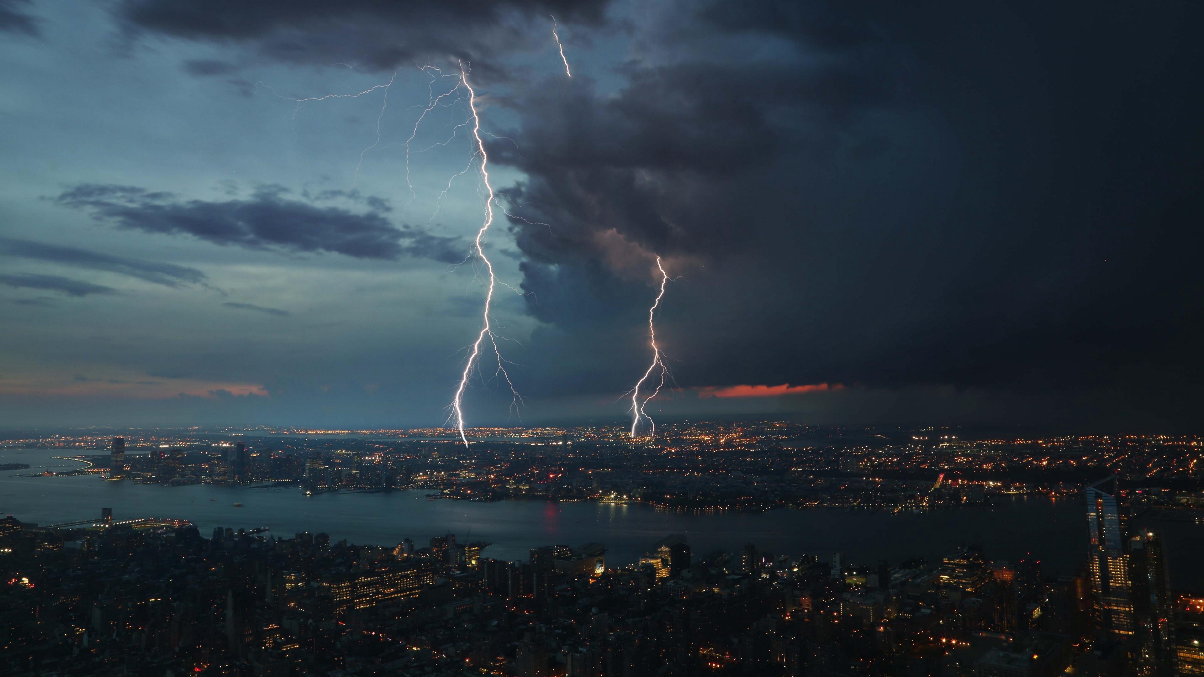 thunderstorm city sky overcast 4k 1538068870 - thunderstorm, city, sky, overcast 4k - thunderstorm, Sky, City