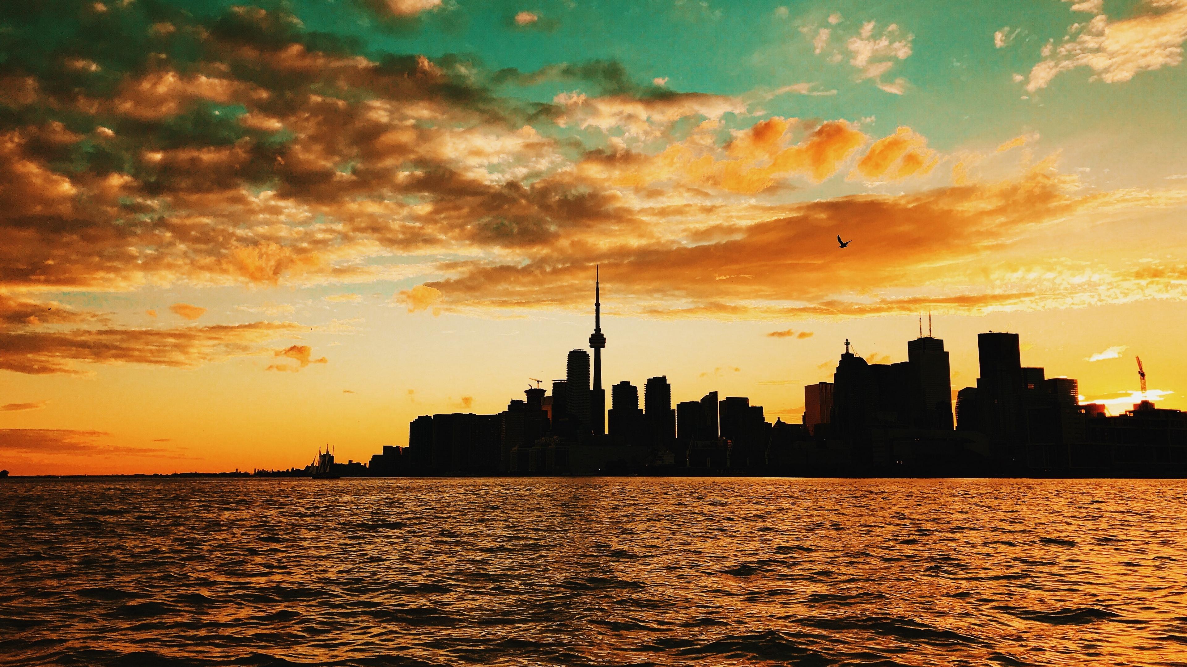 toronto canada sunset buildings sea 4k 1538066843 - toronto, canada, sunset, buildings, sea 4k - Toronto, sunset, Canada