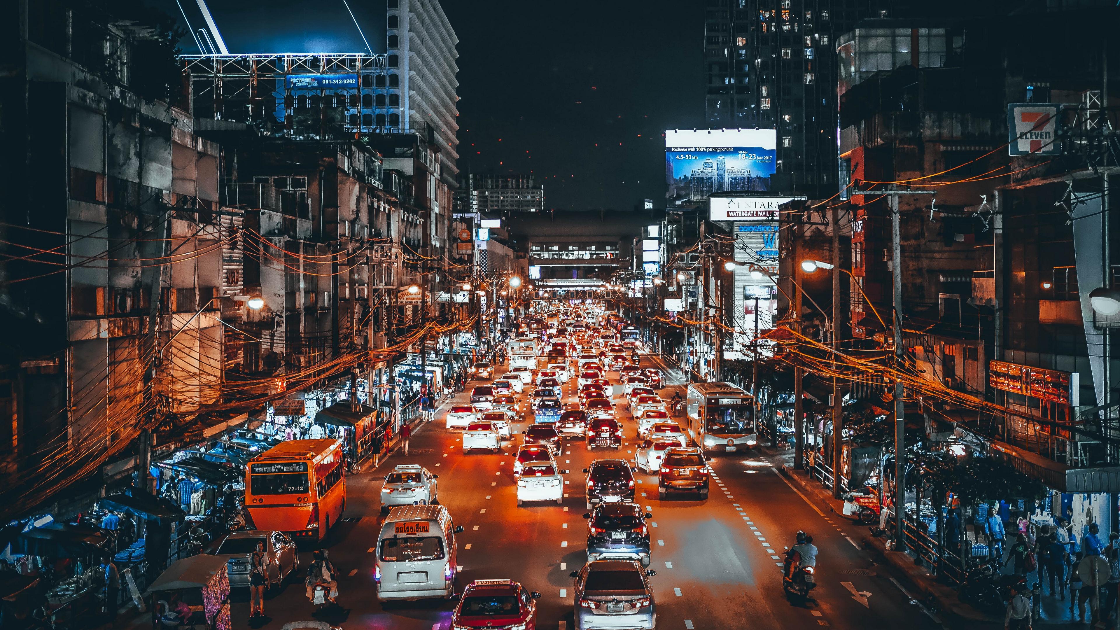 traffic cars street night 4k 1538066869 - traffic, cars, street, night 4k - Traffic, Street, Cars
