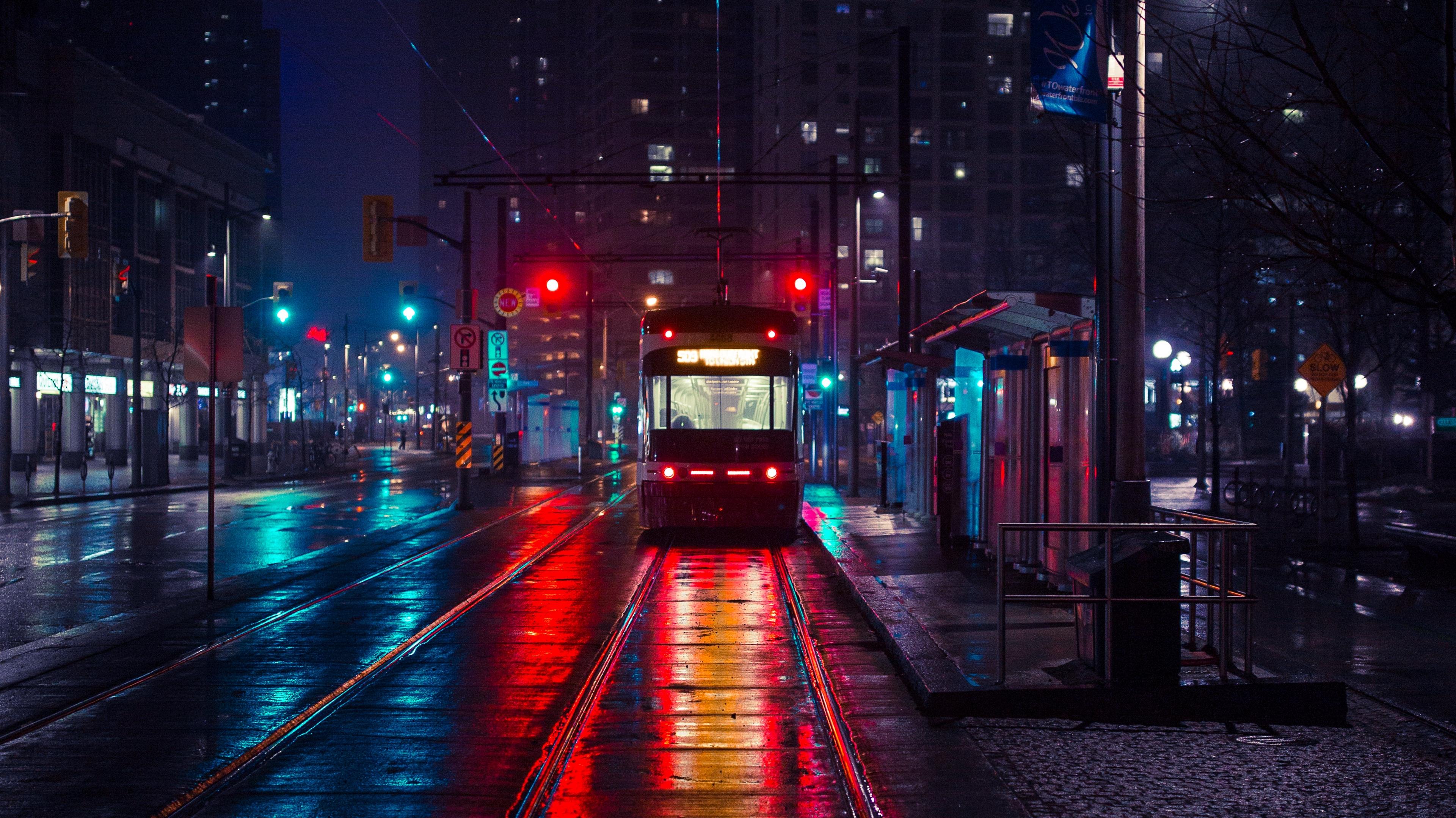 trolley stop city evening lighting 4k 1538068869 - trolley, stop, city, evening, lighting 4k - trolley, Stop, City