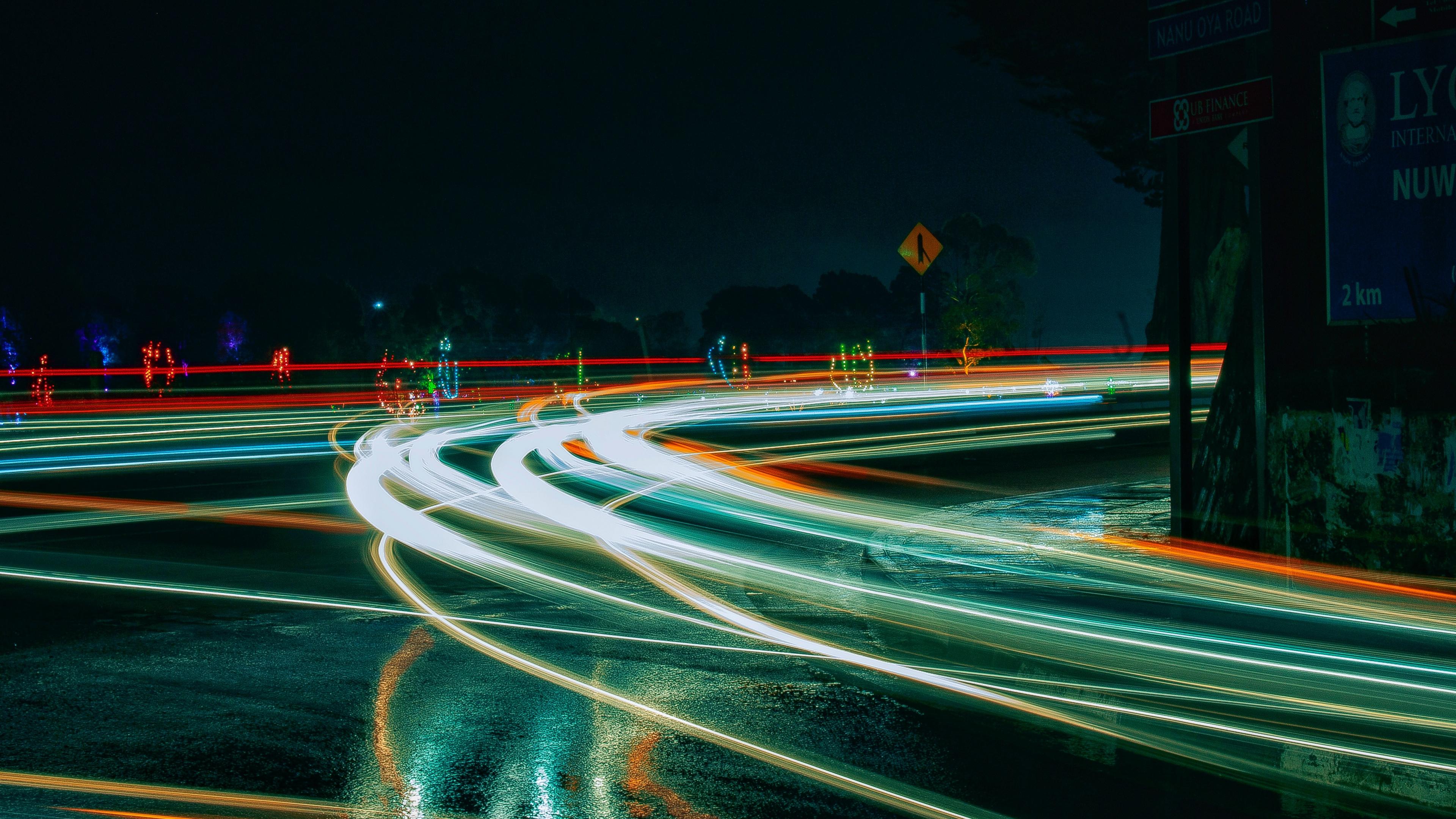turn light road night 4k 1538066594 - turn, light, road, night 4k - turn, Road, Light