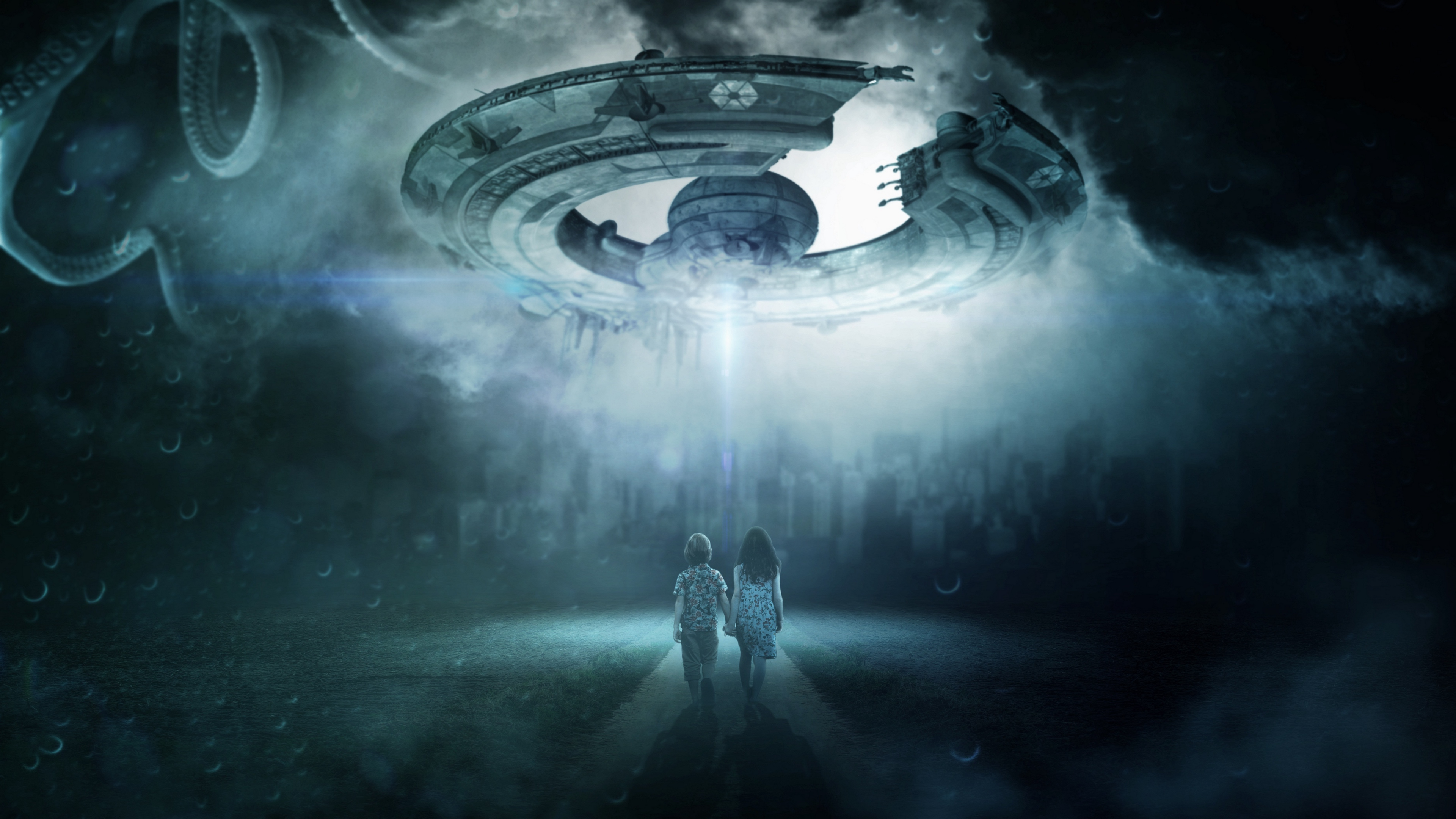 ufo children space ship photoshop futuristic 4k 1536016901 - ufo, children, space ship, photoshop, futuristic 4k - UFO, space ship, Children