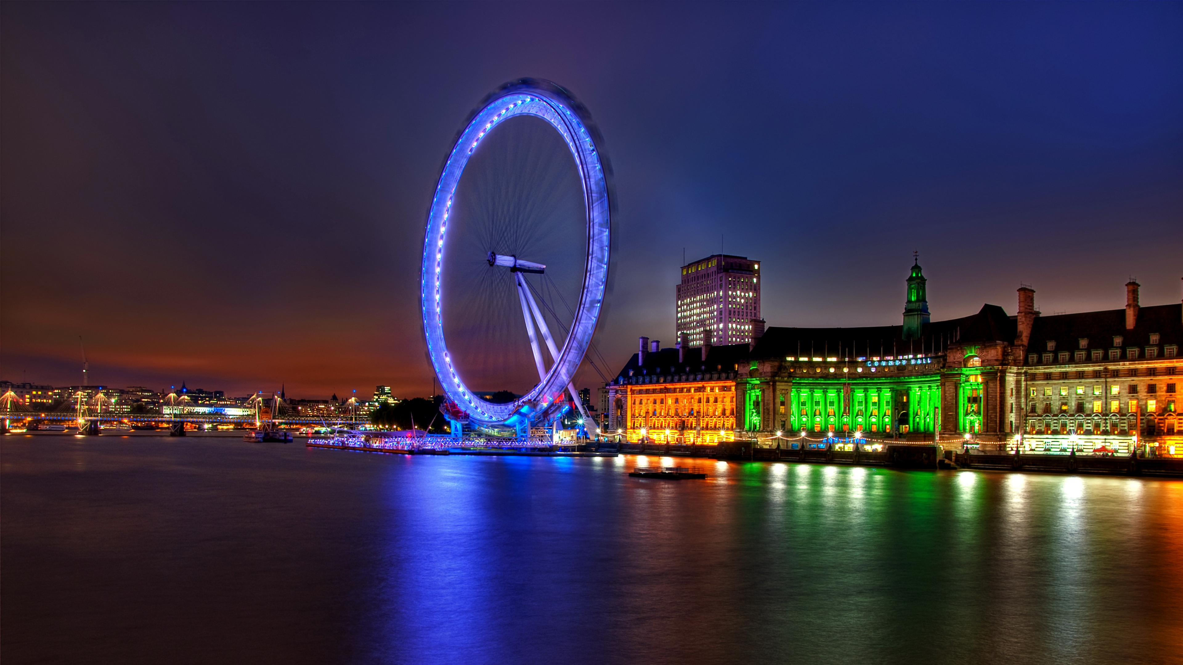 uk england london capital ferris wheel night building architecture lights river thames 4k 1538068156 - uk, england, london, capital, ferris wheel, night, building, architecture, lights, river, thames 4k - uk, London, England