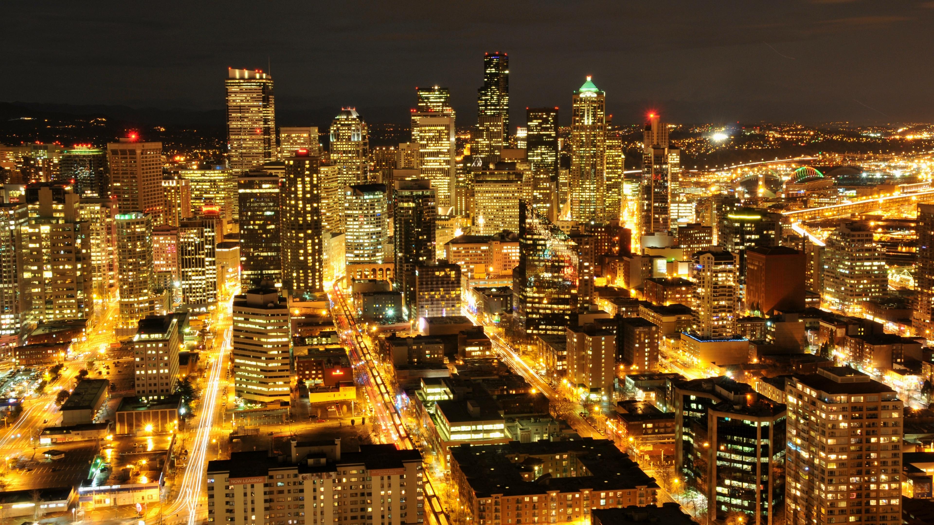 usa washington seattle night city skyscrapers buildings lights 4k 1538068057 - usa, washington, seattle, night city, skyscrapers, buildings, lights 4k - Washington, USA, Seattle