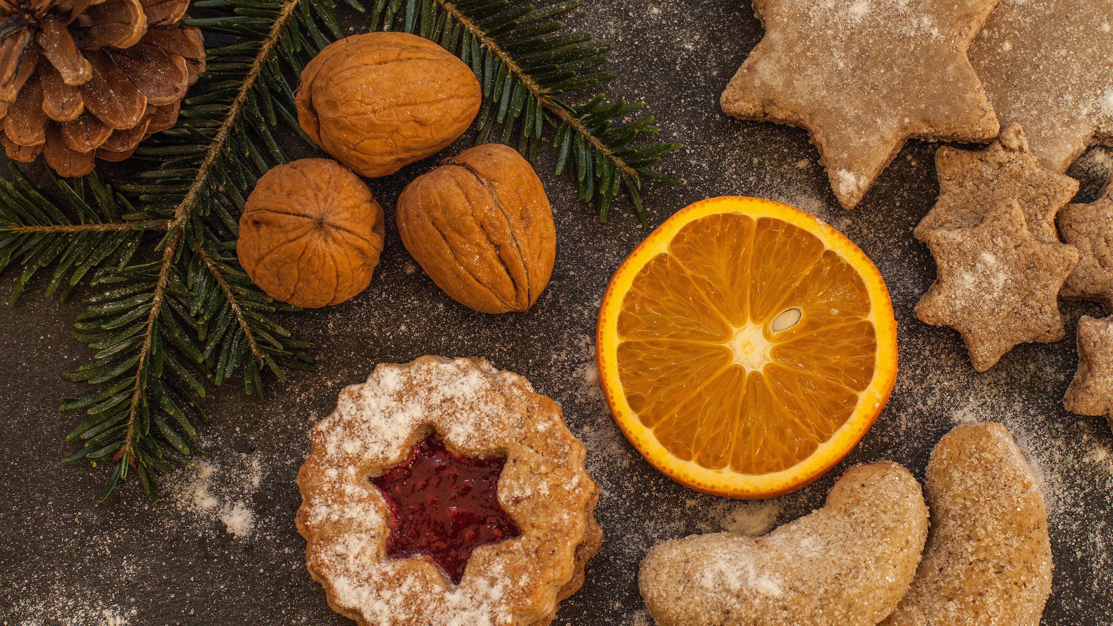 walnuts pine cones christmas cookies oranges 4k 1538344693 - walnuts, pine cones, christmas, cookies, oranges 4k - walnuts, pine cones, Christmas