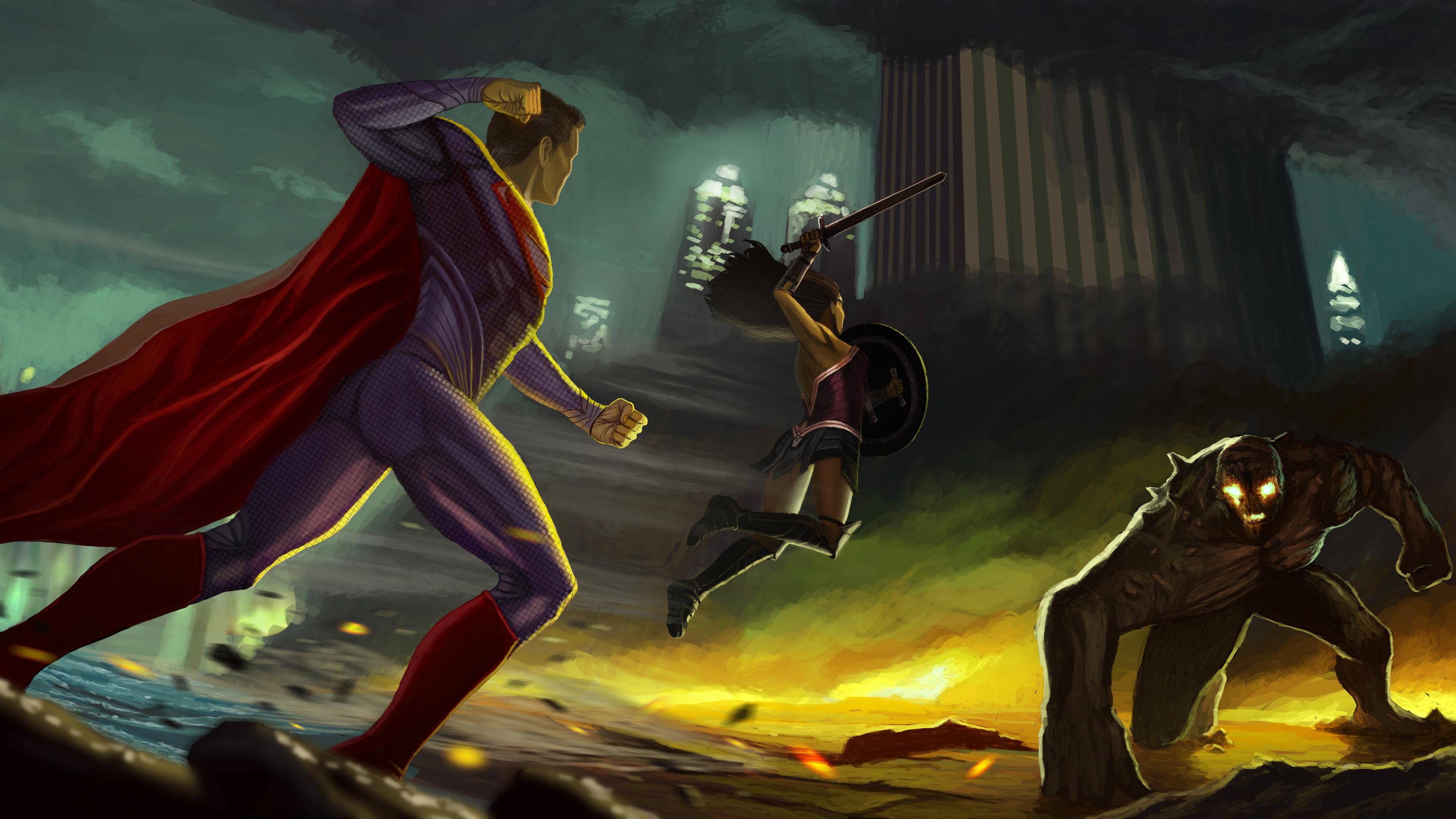 wonder woman superman fighting against doomsday 1536522720 - Wonder Woman Superman Fighting Against Doomsday - wonder woman wallpapers, superman wallpapers, superheroes wallpapers, hd-wallpapers, digital art wallpapers, artwork wallpapers, artist wallpapers, 8k wallpapers, 5k wallpapers, 4k-wallpapers