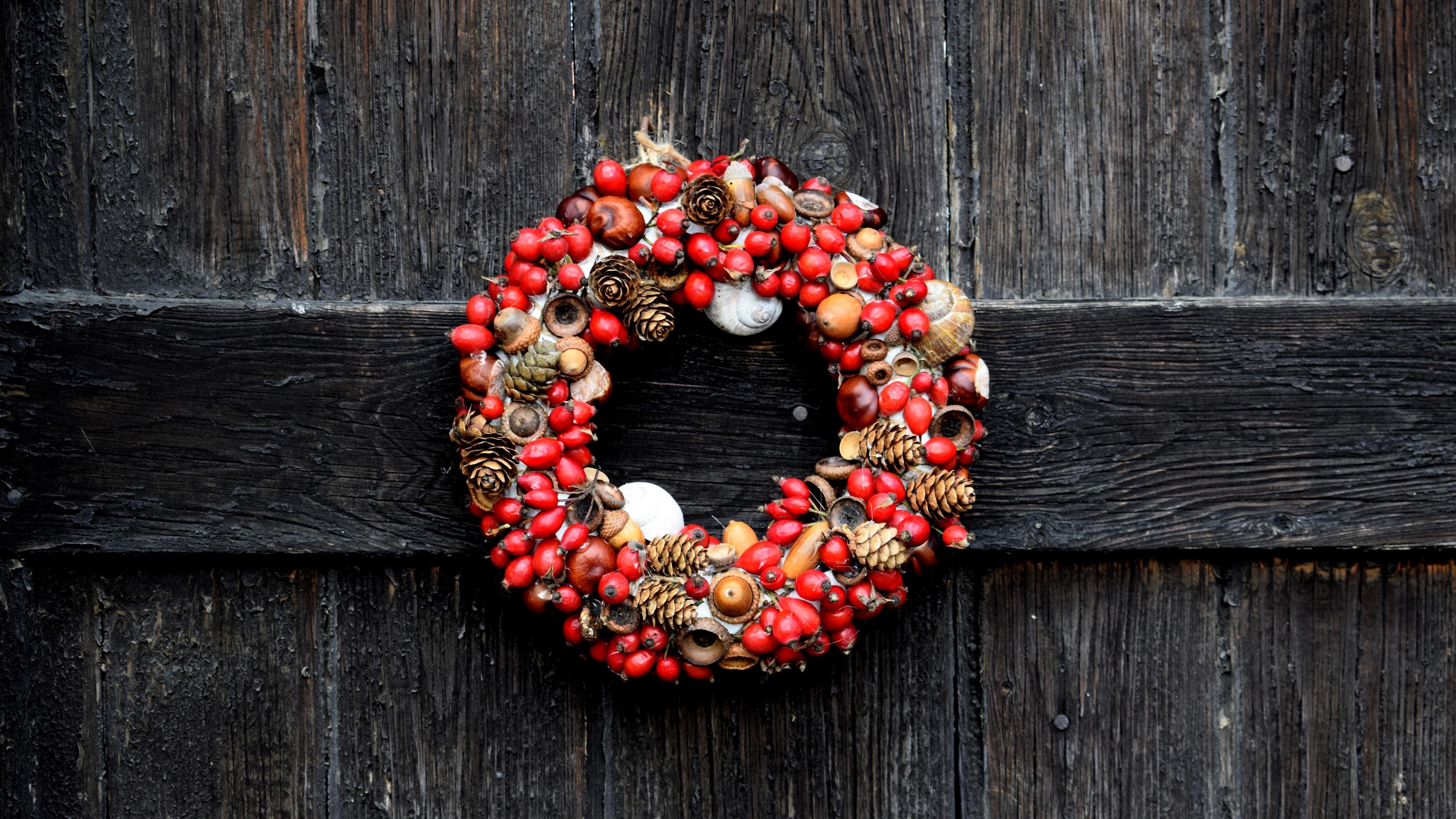 wreath christmas dogrose acorns cones 4k 1538345085 - wreath, christmas, dogrose, acorns, cones 4k - wreath, dogrose, Christmas