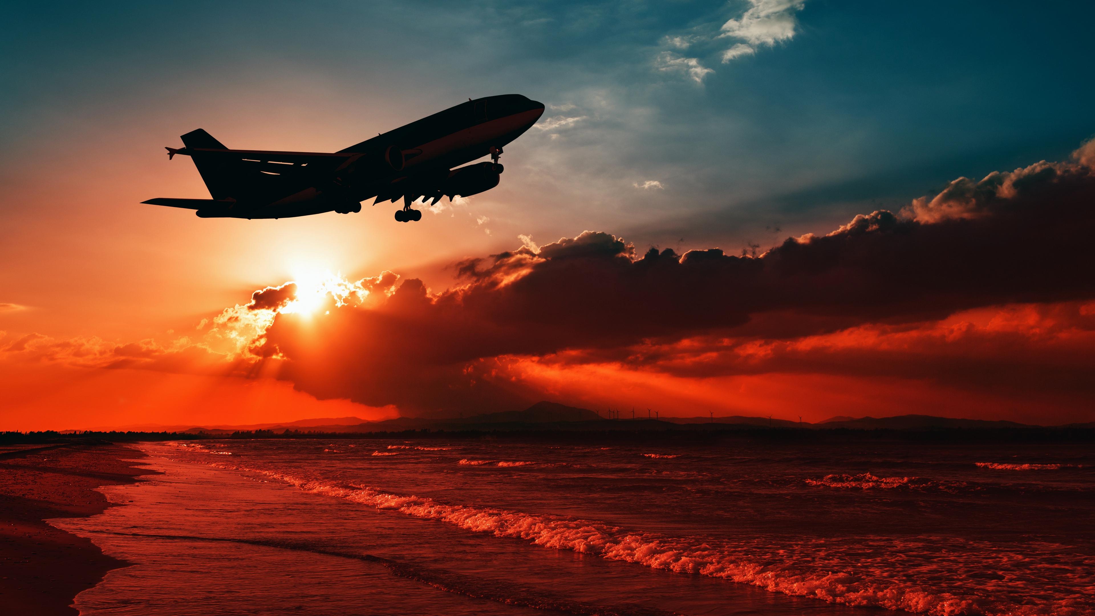 airplane sea sunset takeoff silhouette sky 4k 1540575103 - airplane, sea, sunset, takeoff, silhouette, sky 4k - sunset, Sea, Airplane
