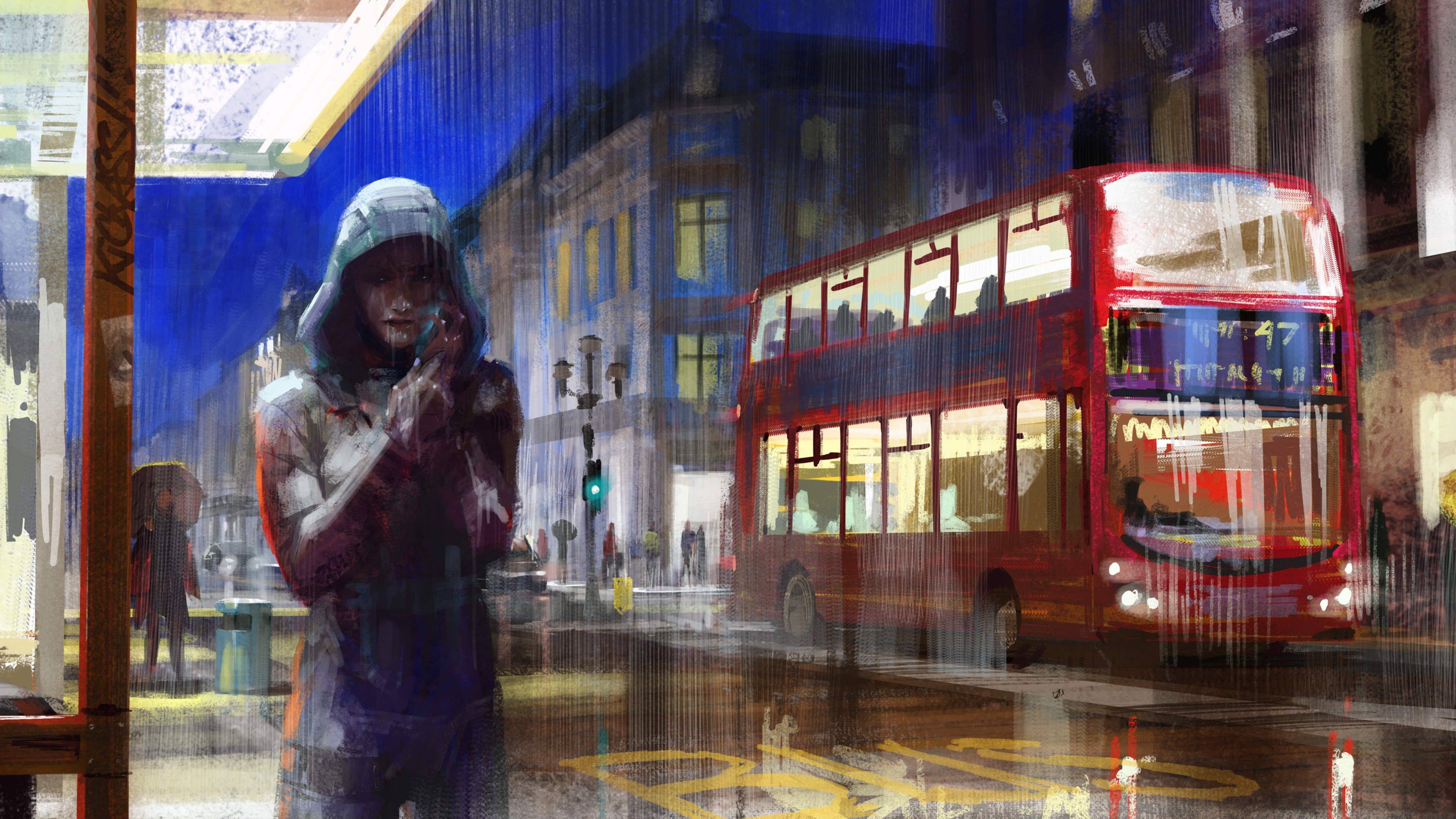 alone girl city painting 4k 1540755857 - Alone Girl City Painting 4k - hd-wallpapers, digital art wallpapers, bus wallpapers, artwork wallpapers, artist wallpapers, alone wallpapers, 4k-wallpapers