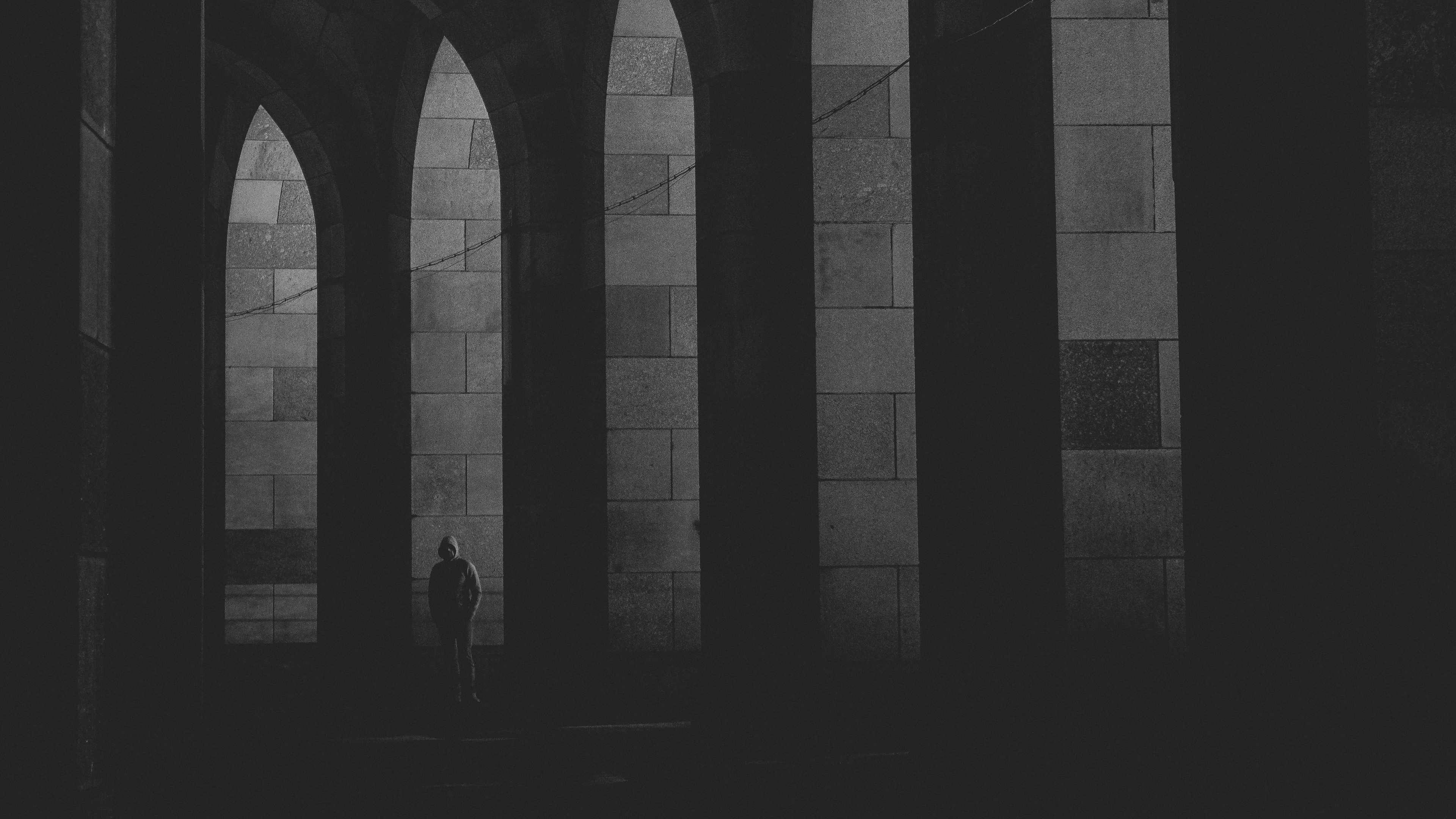 arches lonely bw loneliness 4k 1540575928 - arches, lonely, bw, loneliness 4k - Lonely, bw, arches