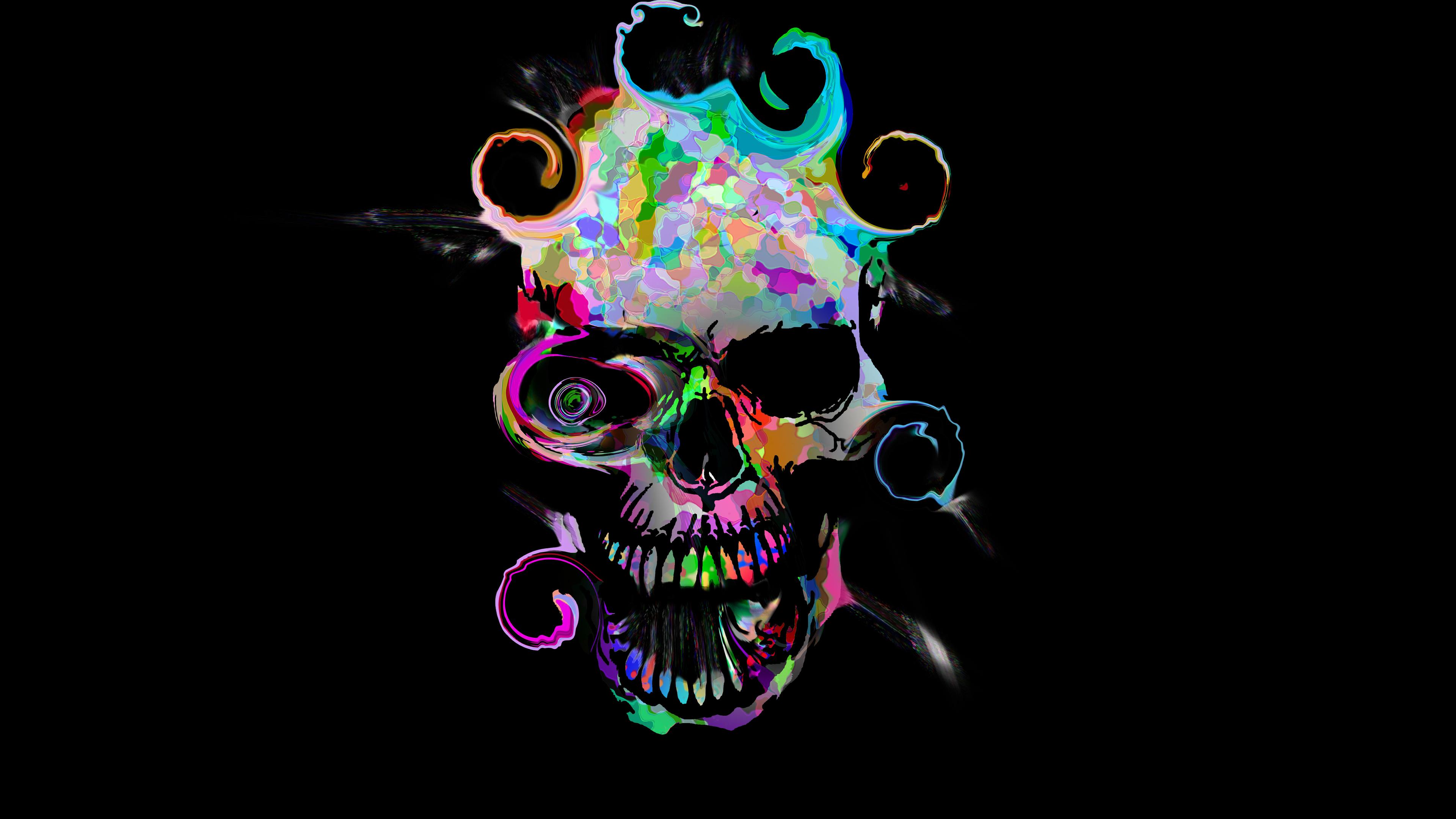 artistic colorful skull 4k 1540754987 - Artistic Colorful Skull 4k - skull wallpapers, hd-wallpapers, deviantart wallpapers, artwork wallpapers, artist wallpapers, 5k wallpapers, 4k-wallpapers