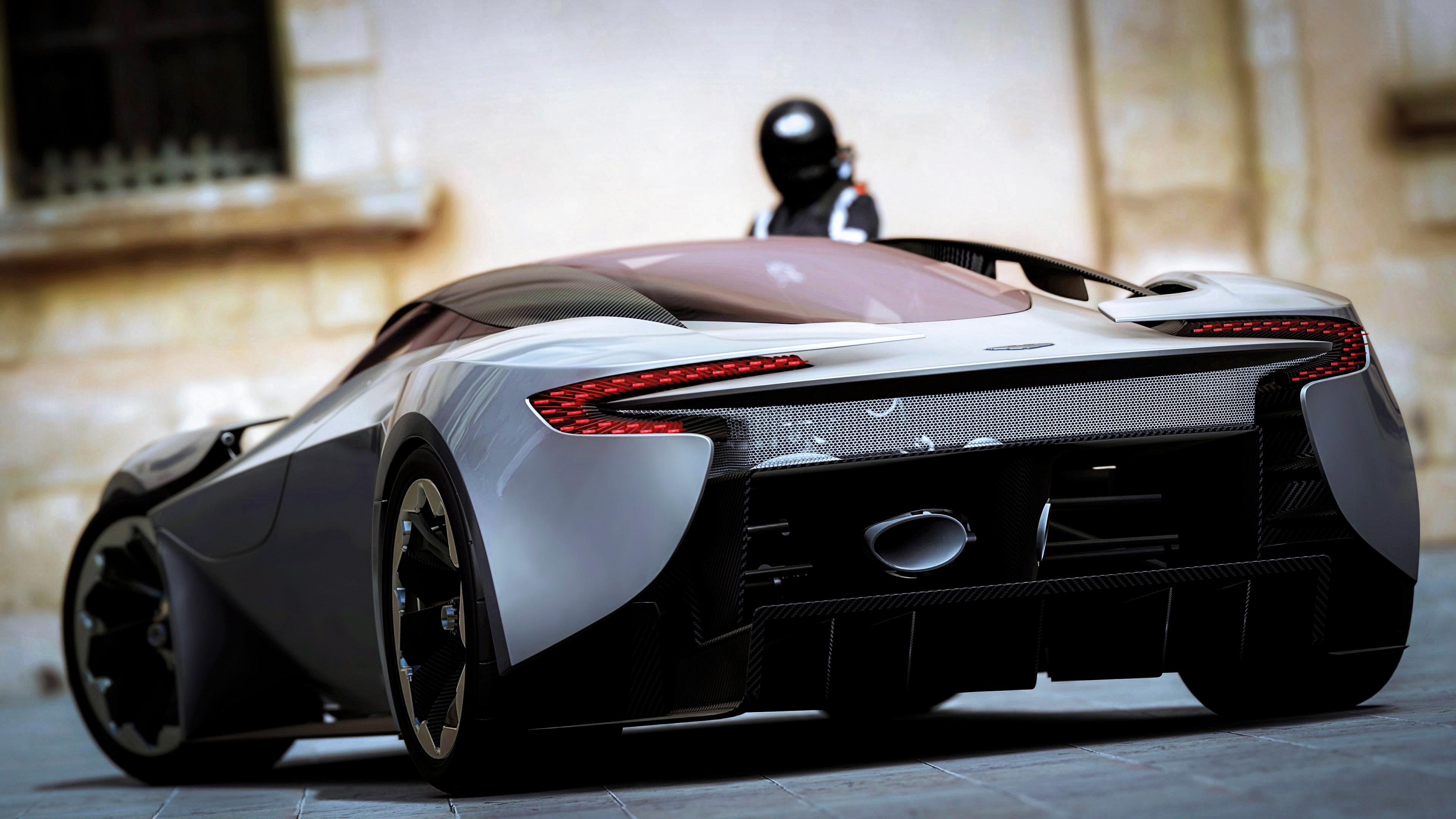 Aston Martin, Rear View, Black, Sports Car 4k Rear View
