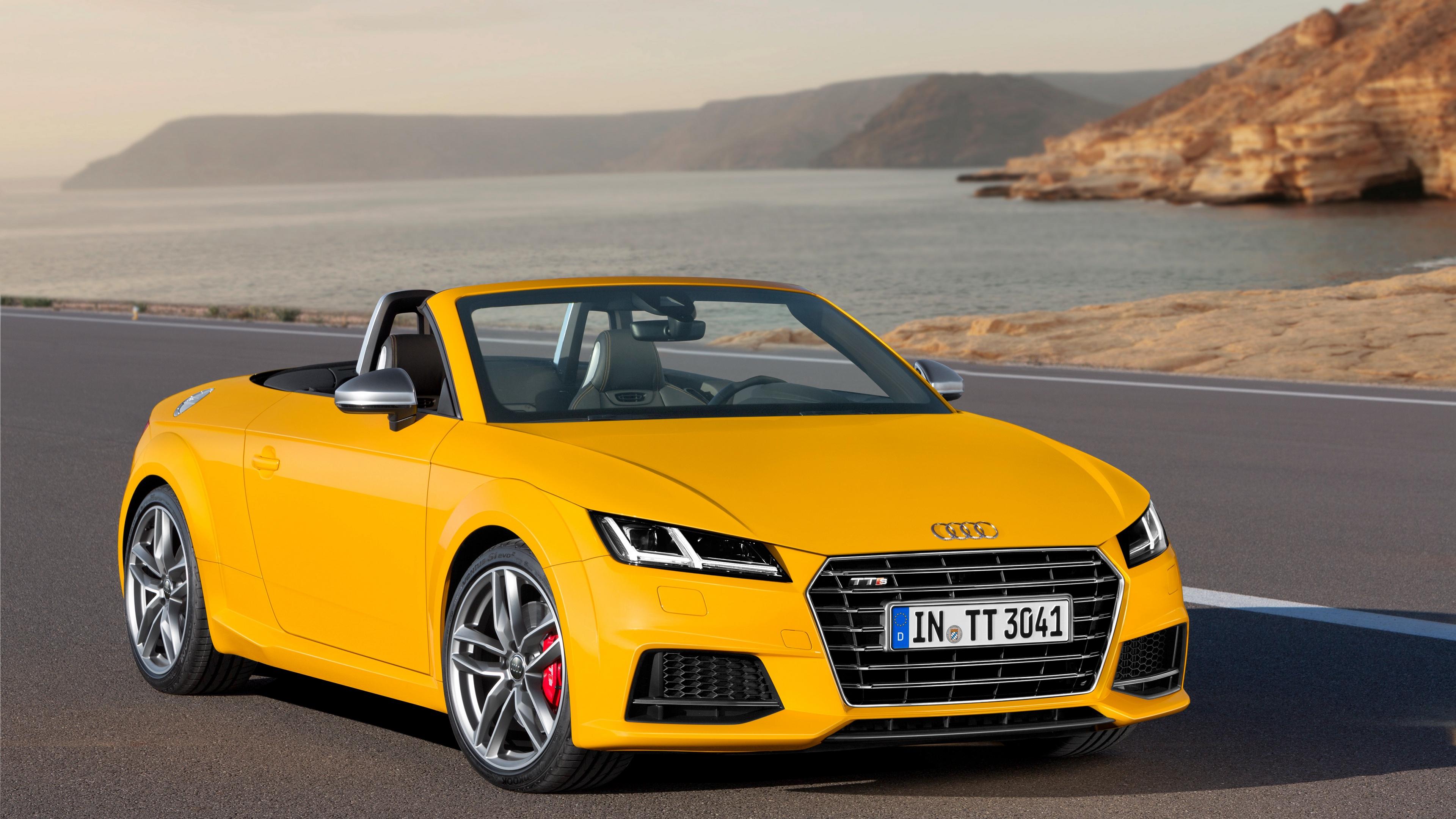 audi tts tt yellow roadster 2014 4k 1538935024 - audi, tts, tt, yellow, roadster, 2014 4k - tts, tt, Audi