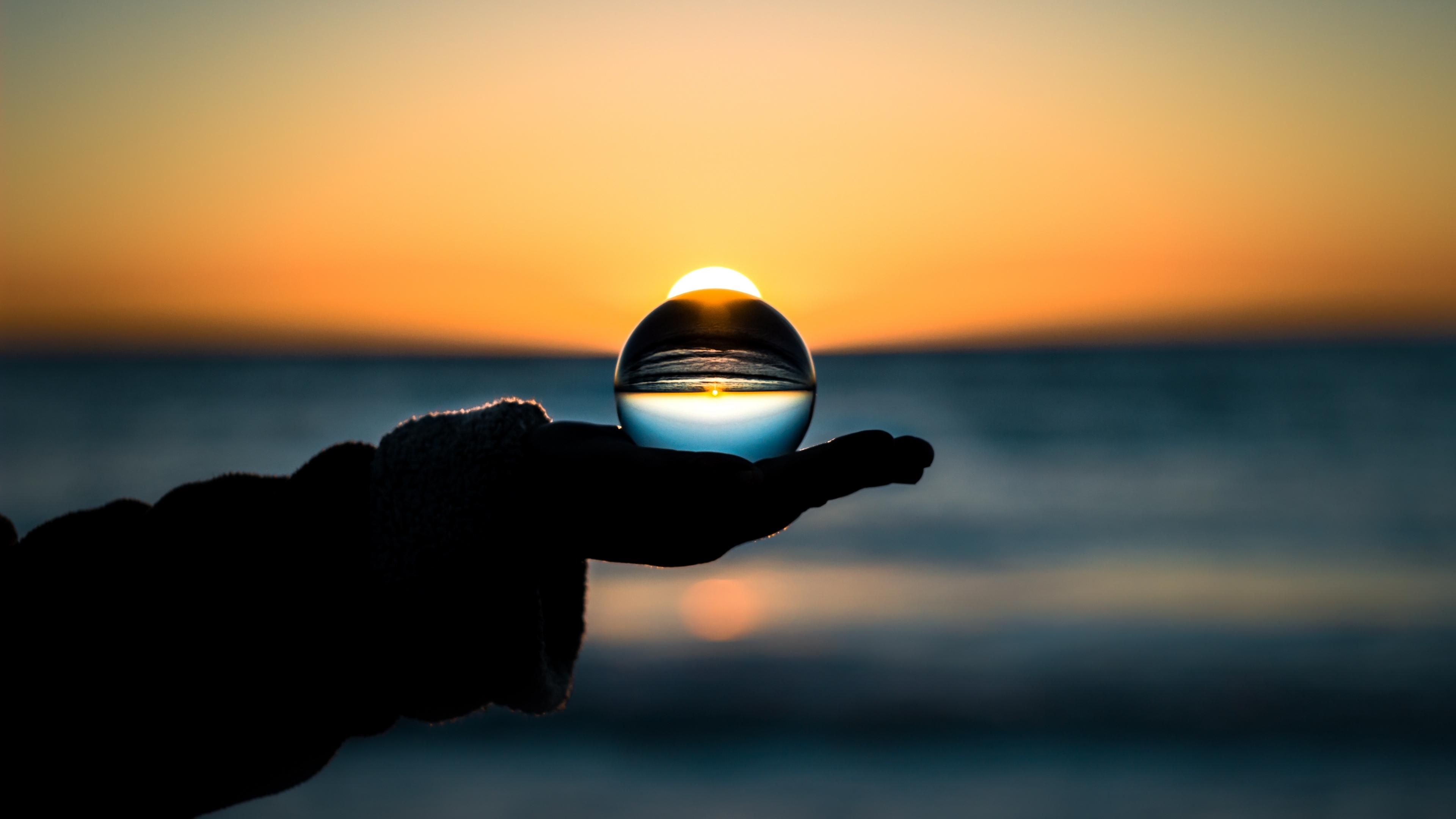 ball hand horizon glass 4k 1540574809 - ball, hand, horizon, glass 4k - Horizon, hand, Ball