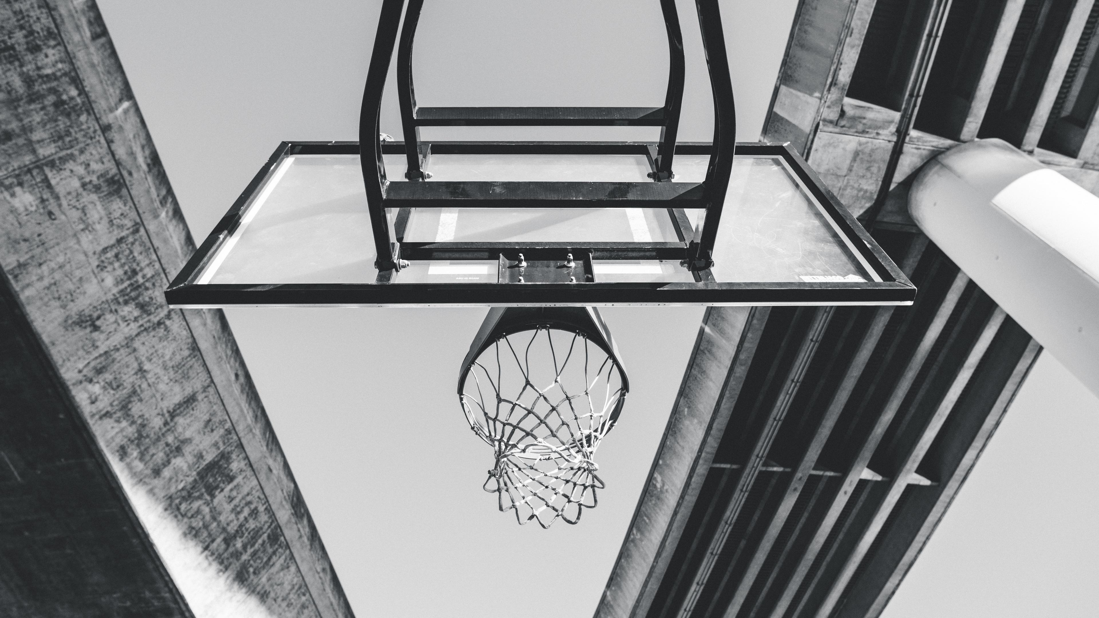 basketball ring mesh bw 4k 1540063200 - basketball, ring, mesh, bw 4k - Ring, mesh, Basketball