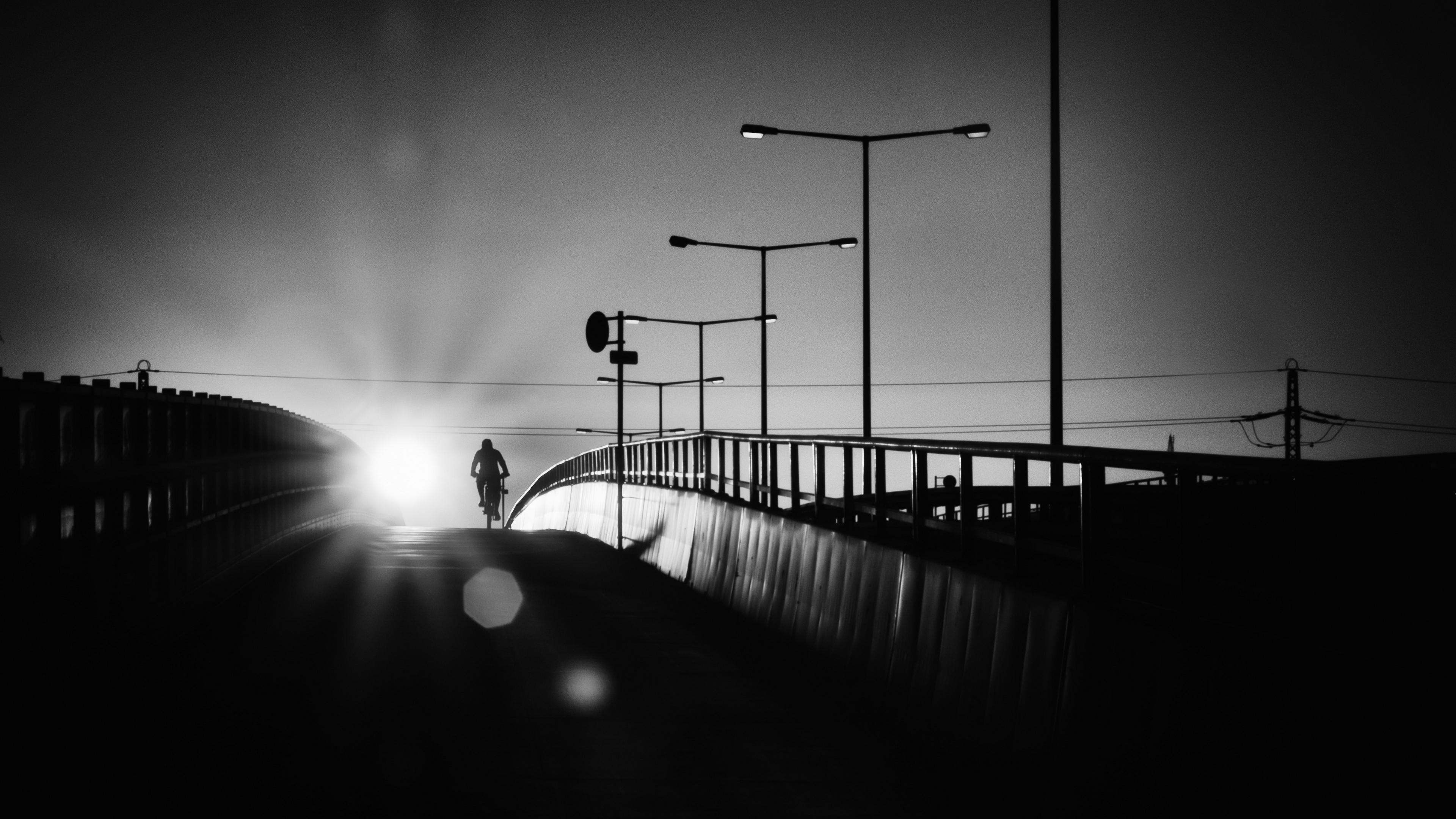 bicyclist bridge bw silhouette night 4k 1540575094 - bicyclist, bridge, bw, silhouette, night 4k - bw, bridge, bicyclist