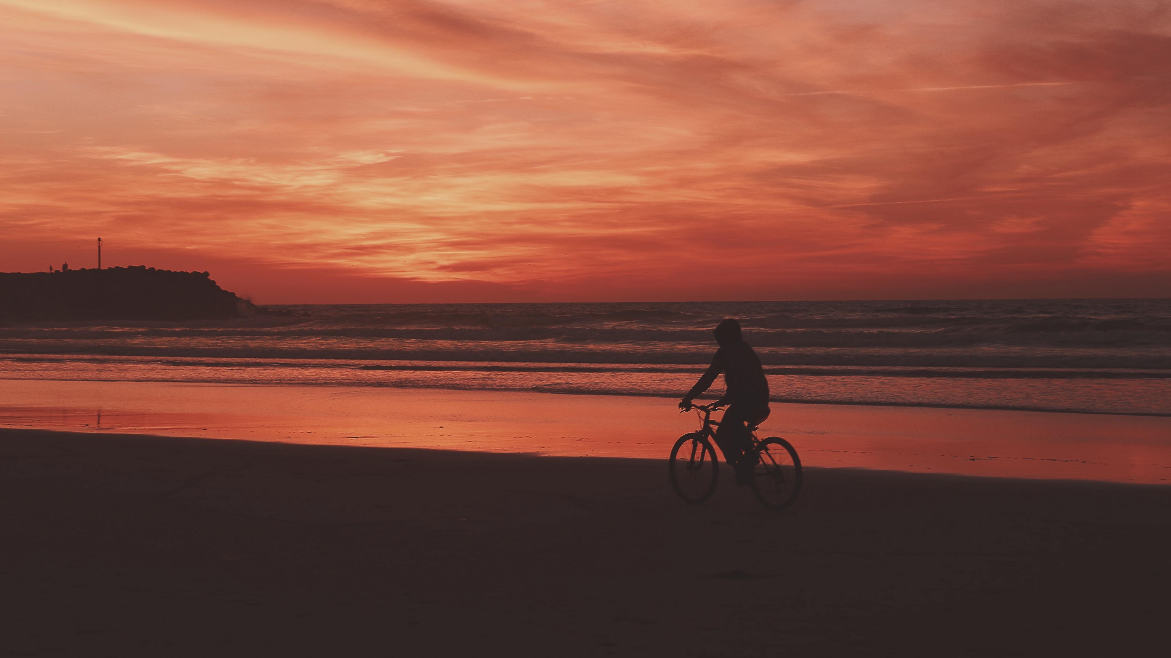 bicyclist sea shore sunset 4k 1540574500 - bicyclist, sea, shore, sunset 4k - Shore, Sea, bicyclist