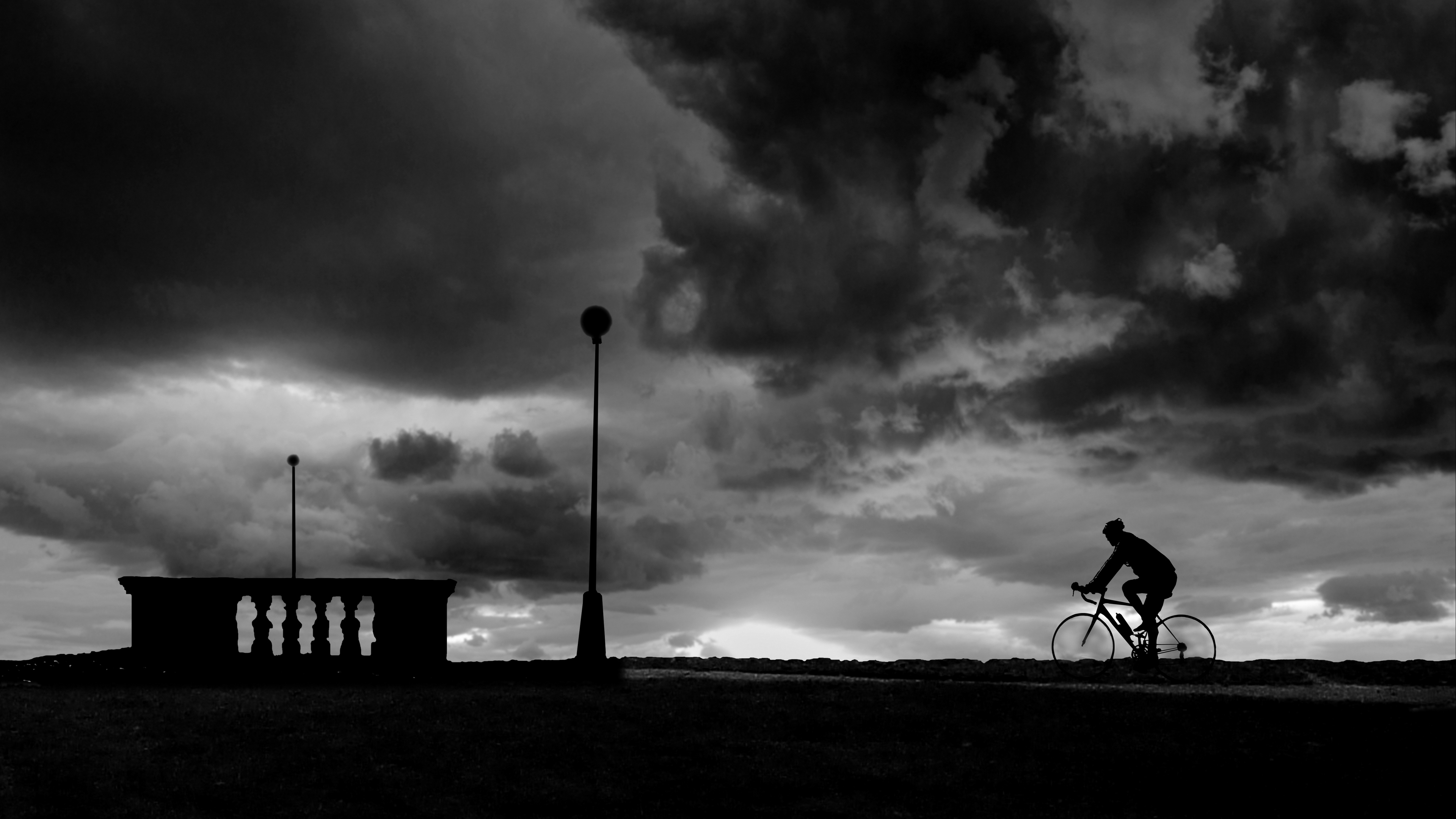 bicyclist silhouette bw clouds night 4k 1540576221 - bicyclist, silhouette, bw, clouds, night 4k - Silhouette, bw, bicyclist