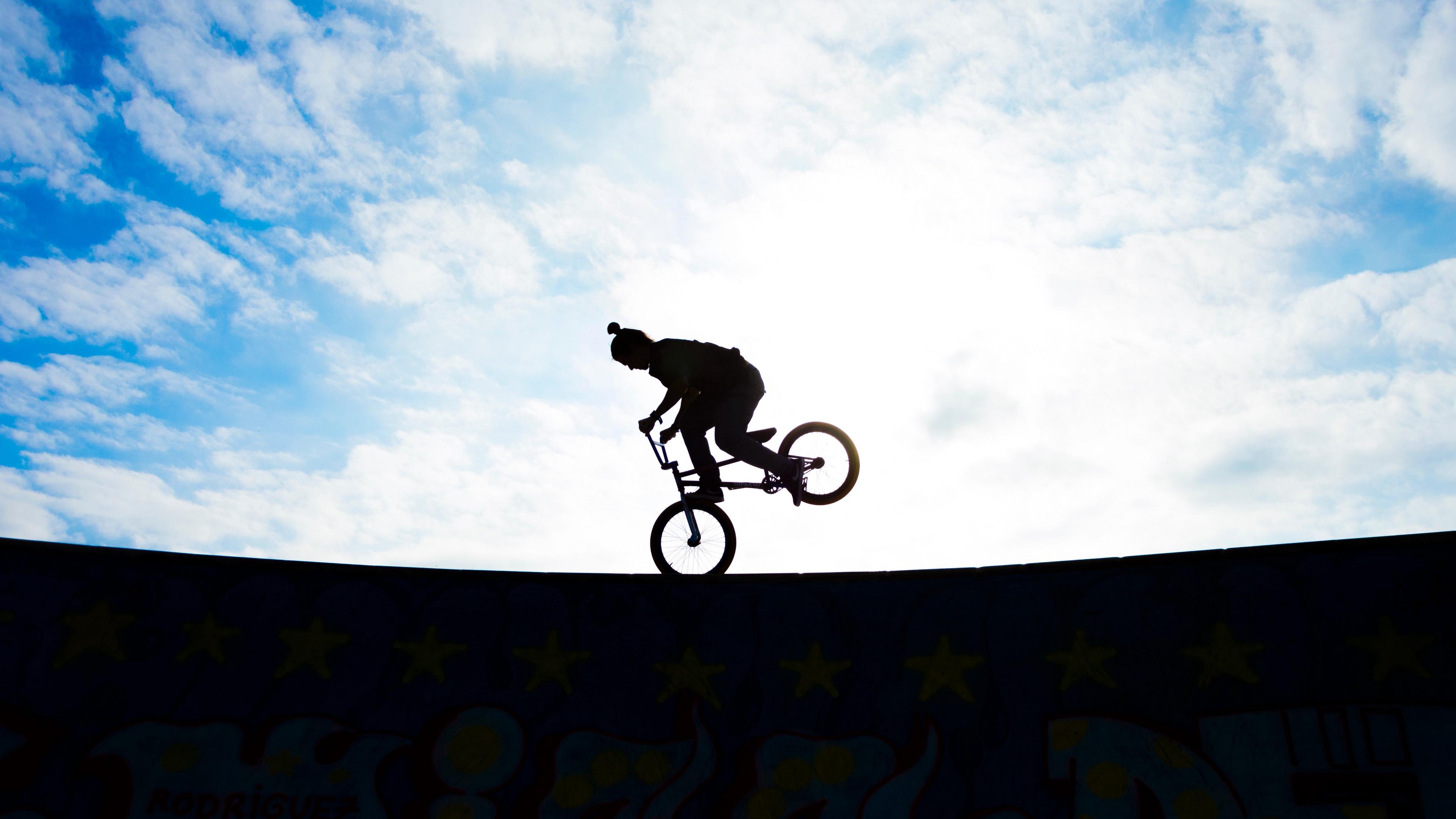biker silhouette sky 4k 1540061875 - biker, silhouette, sky 4k - Sky, Silhouette, Biker