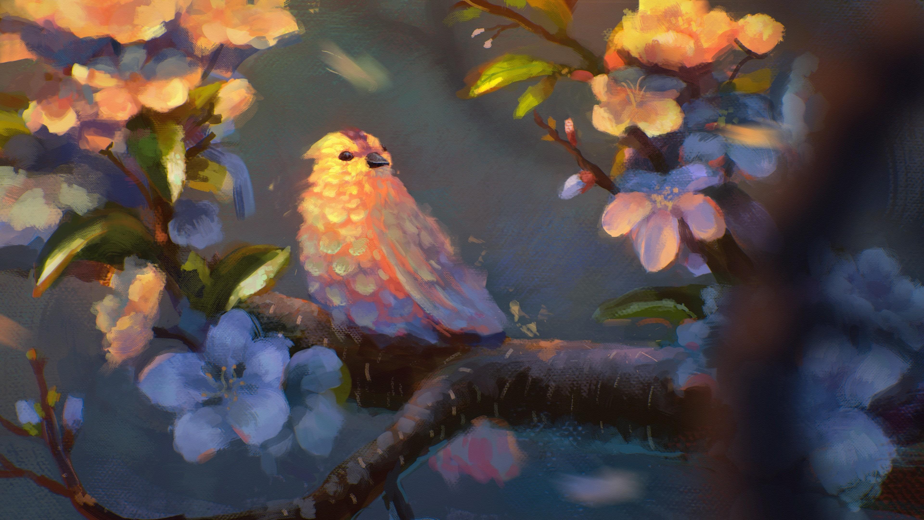 bird painting 4k 1540751375 - Bird Painting 4k - painting wallpapers, hd-wallpapers, digital art wallpapers, bird wallpapers, artwork wallpapers, artist wallpapers, 5k wallpapers, 4k-wallpapers