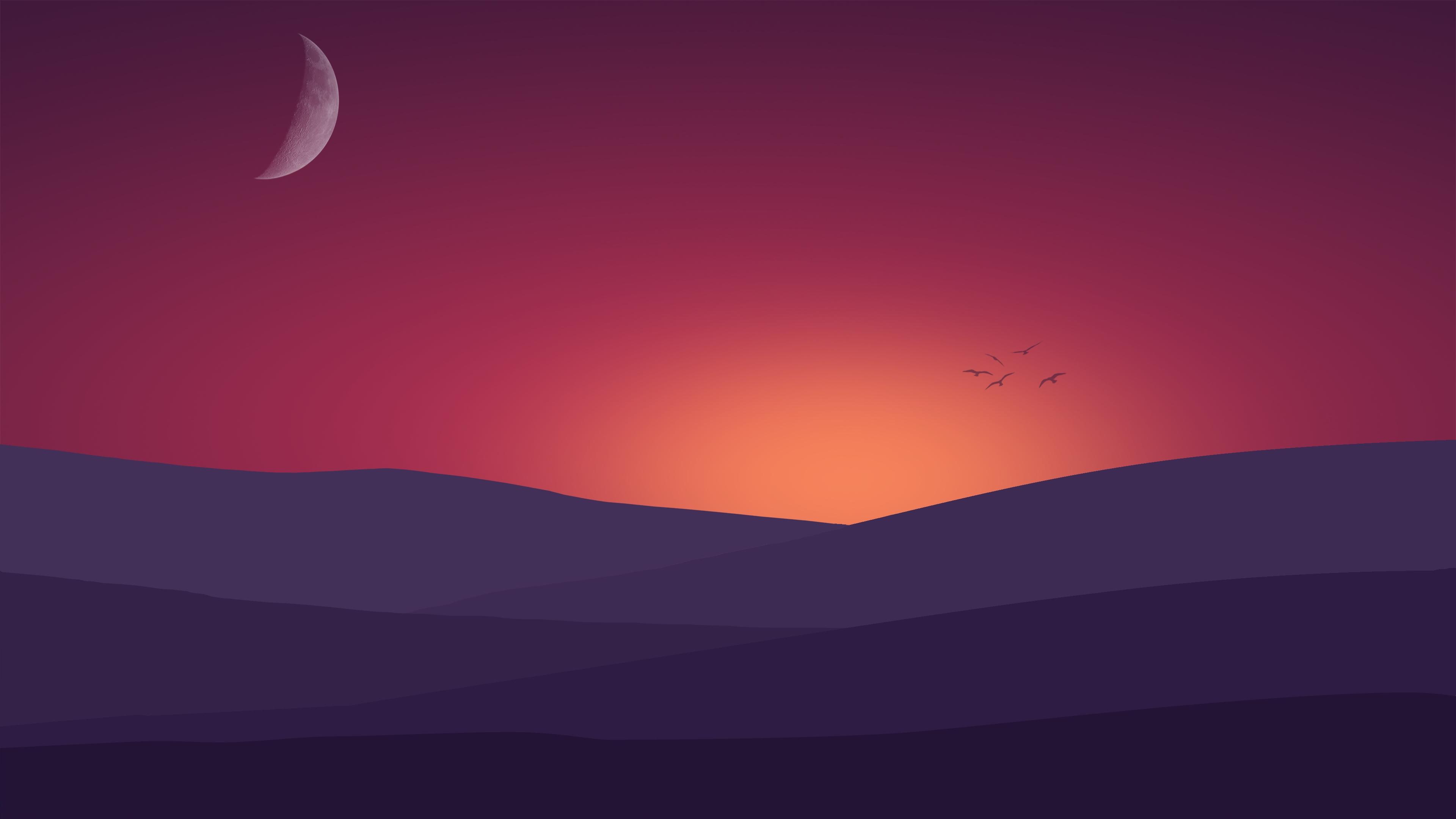 birds flying towards sunset landscape minimalist 4k 1540756204 - Birds Flying Towards Sunset Landscape Minimalist 4k - sunset wallpapers, minimalist wallpapers, minimalism wallpapers, landscape wallpapers, hd-wallpapers, digital art wallpapers, birds wallpapers, artwork wallpapers, artist wallpapers, 4k-wallpapers