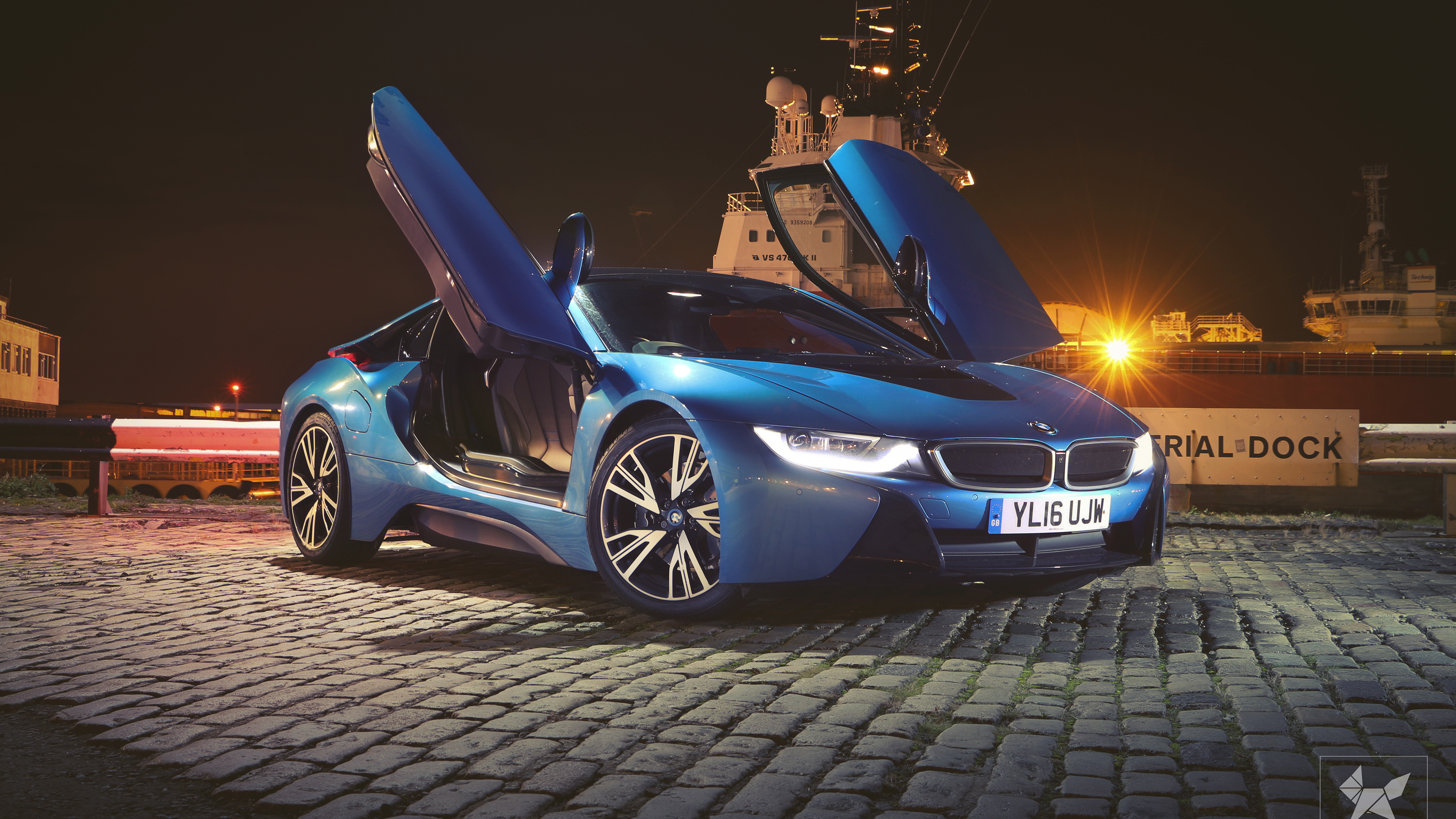 bmw i8 doors up 1539113856 - BMW I8 Doors Up - hd-wallpapers, cars wallpapers, bmw wallpapers, bmw i8 wallpapers, behance wallpapers, artist wallpapers, 2018 cars wallpapers