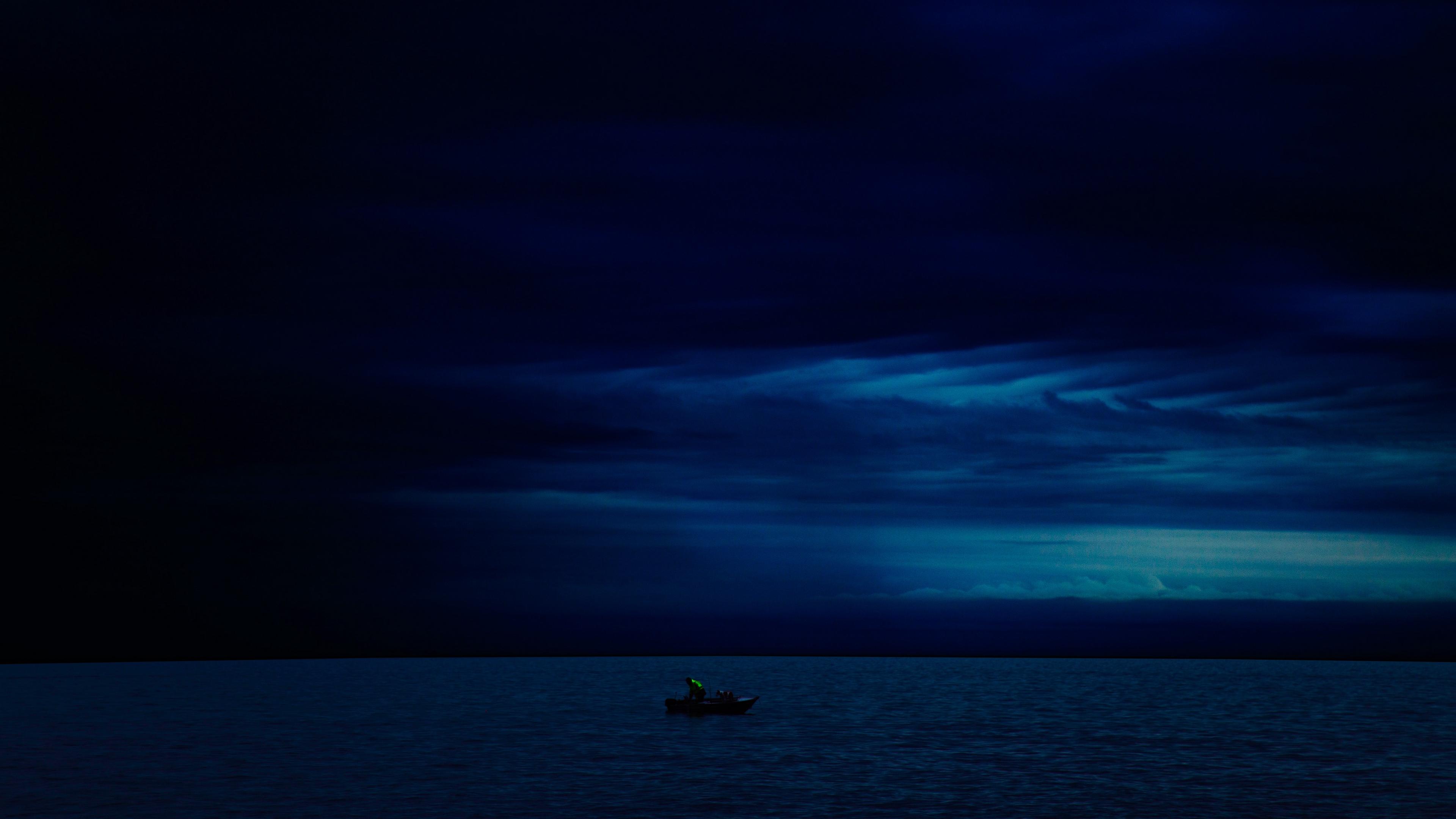 boat night horizon dark 4k 1540575549 - boat, night, horizon, dark 4k - Night, Horizon, Boat