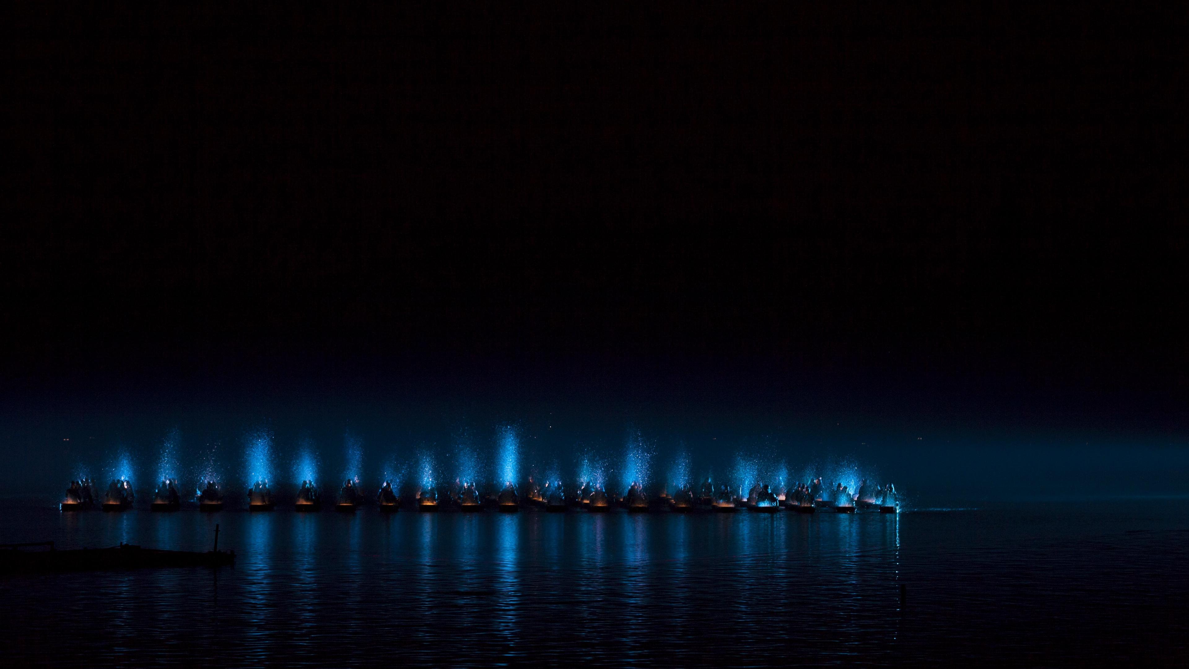 boats people sea night 4k 1540575077 - boats, people, sea, night 4k - Sea, People, boats