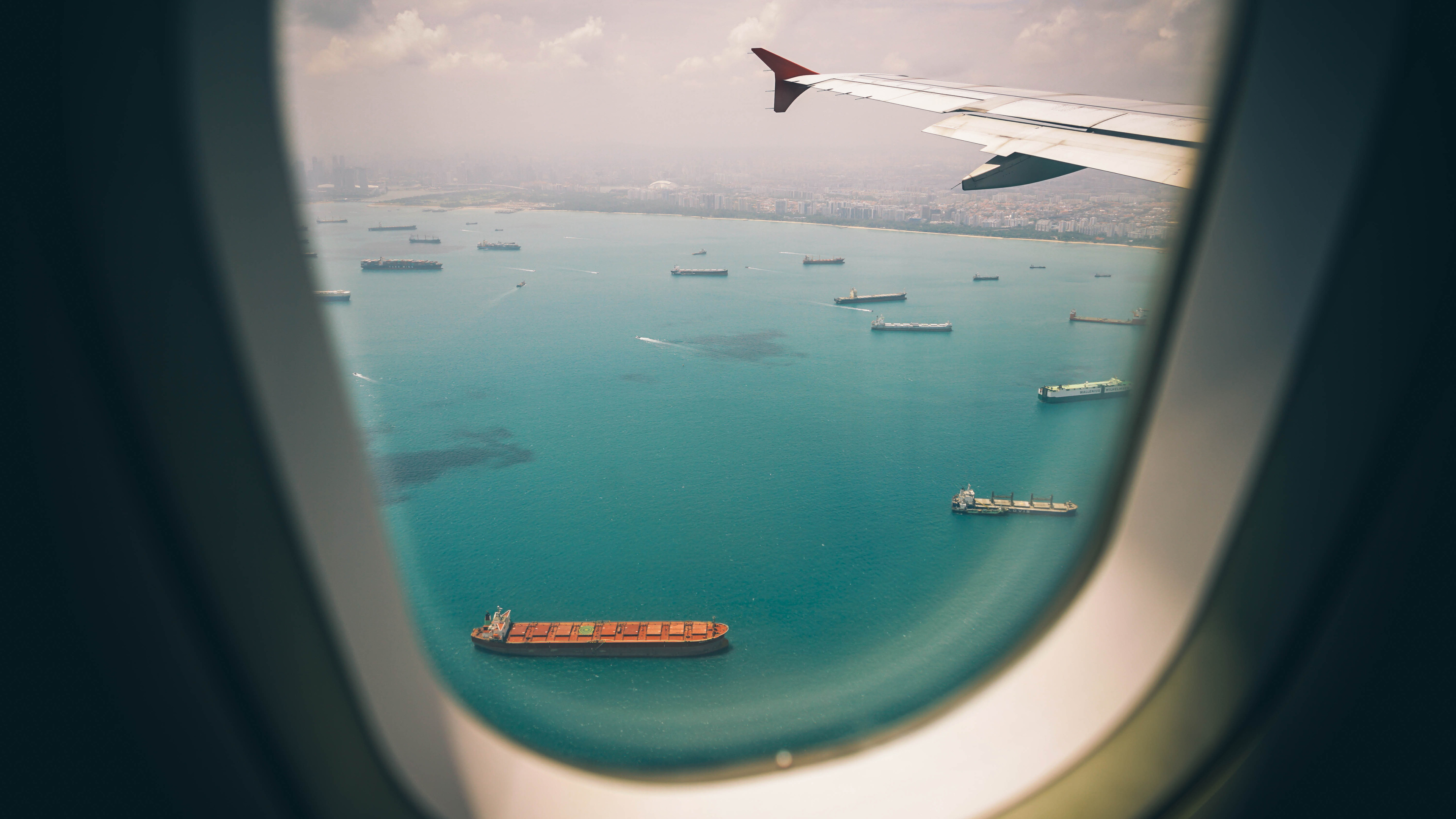 Wallpaper 4k Boats Sea View From Airplane Window 4k 4k Wallpapers
