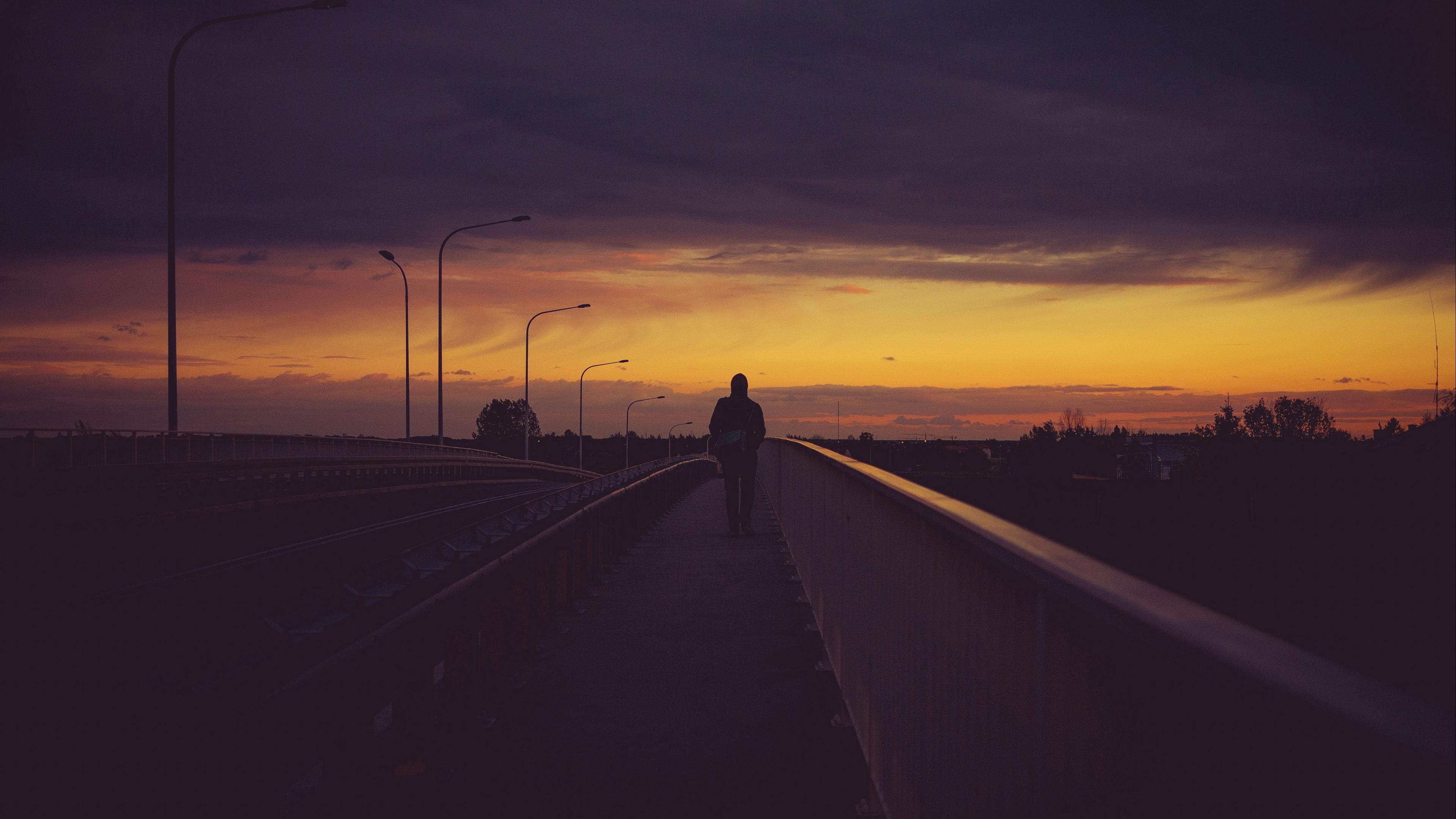 bridge man night solitude 4k 1540574437 - bridge, man, night, solitude 4k - Night, Man, bridge