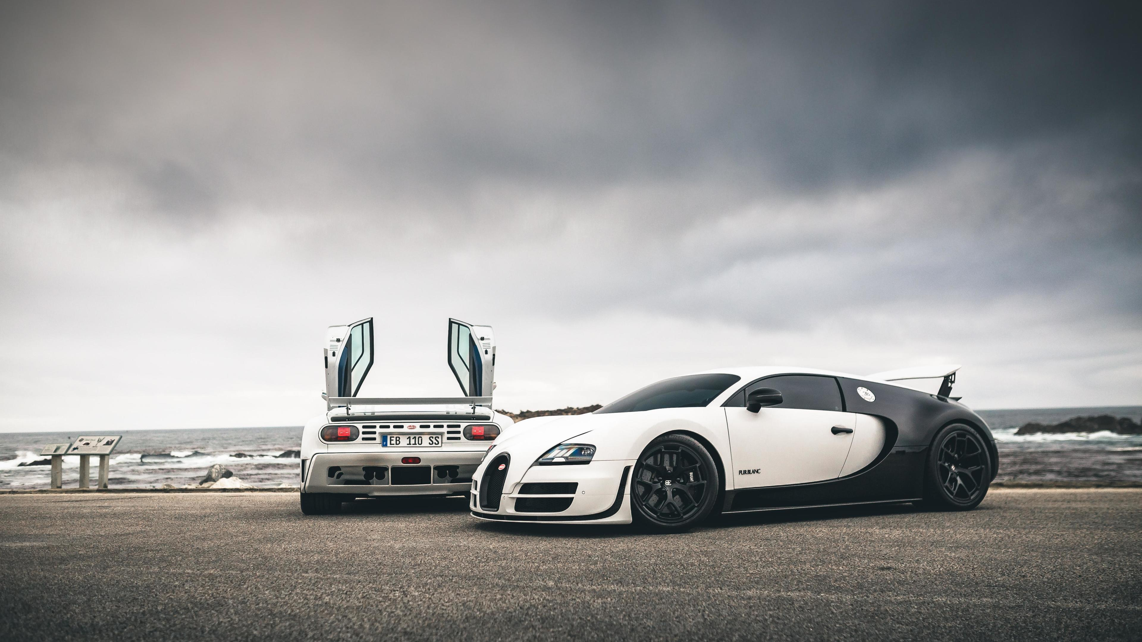 Wallpaper 4k Bugatti Veyron Ss And Eb110ss By The Sea 5k 4k