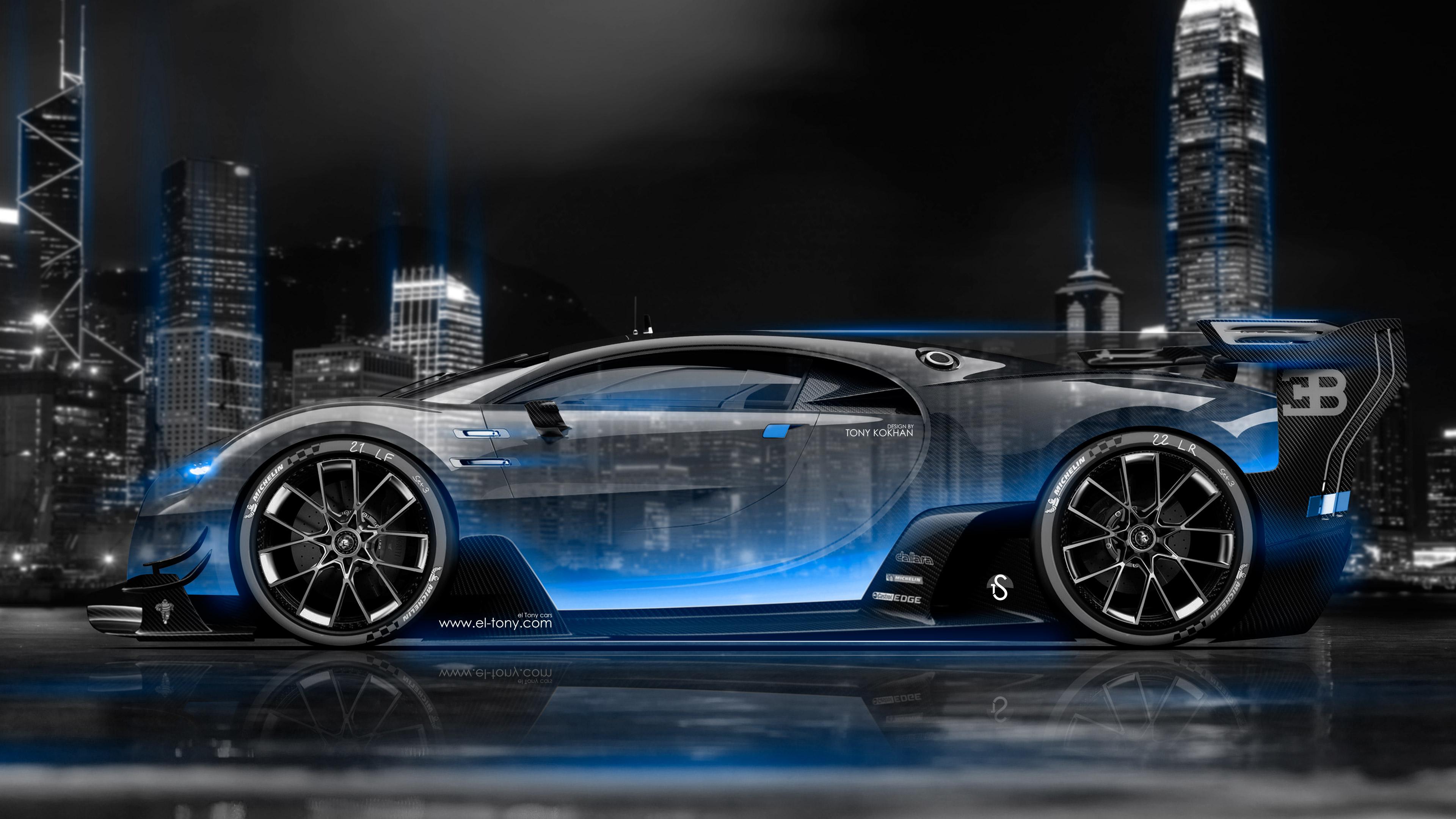 Wallpaper 4k Bugatti Vision Gran Turismo Side Crystal City Night Car